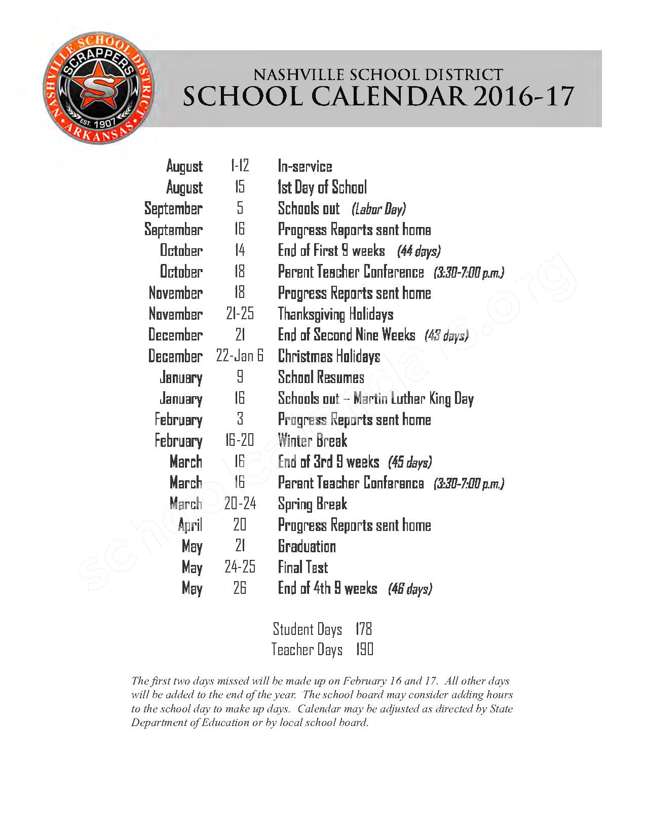 2016 - 2017 School Calendar – Nashville Public Schools – page 1
