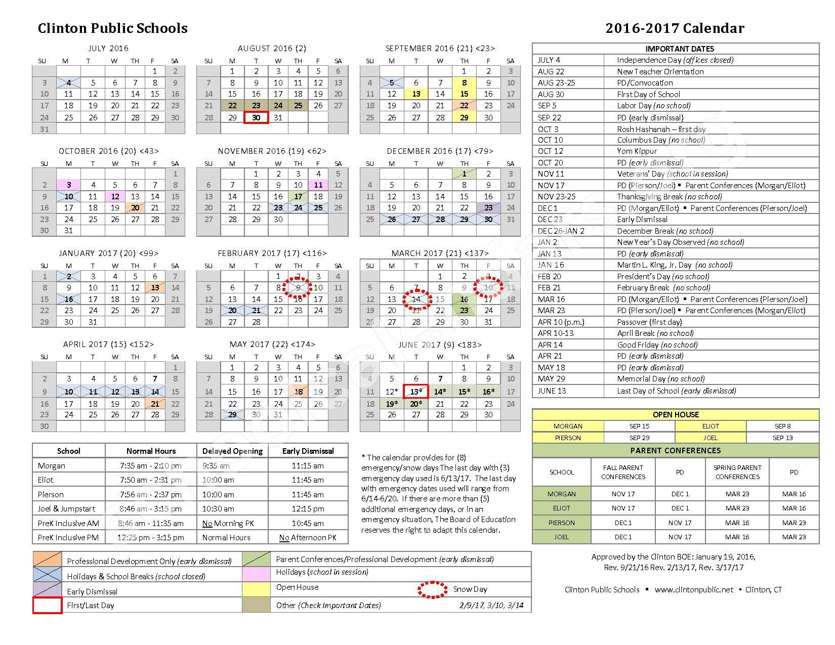 2016 - 2017  School Calendar – Clinton Public Schools – page 1