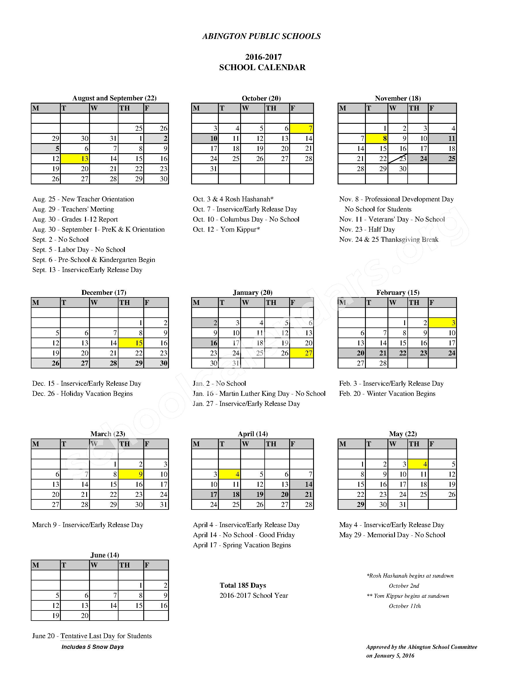 2016 - 2017 School Calendar – Abington Early Childhood Center – page 1