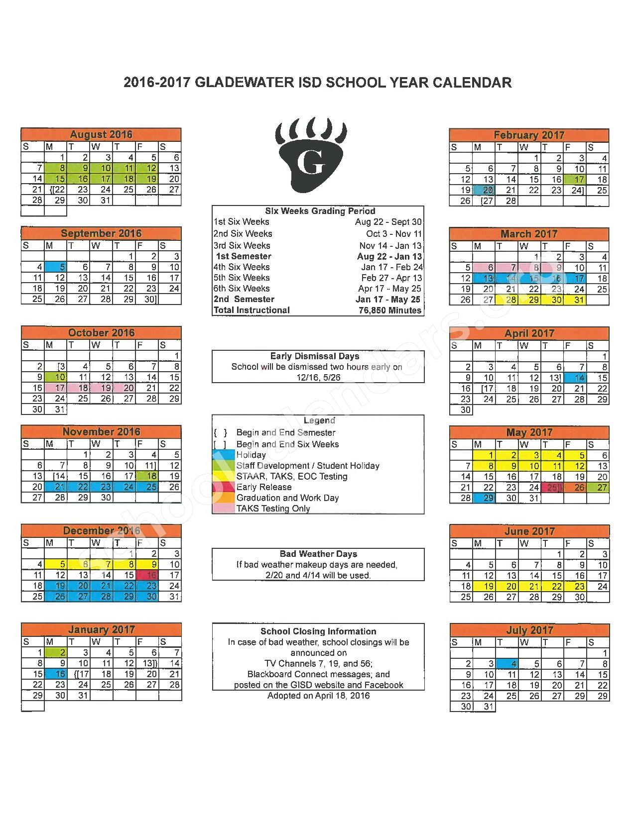 2016 - 2017 District Calendar – Gladewater Middle School – page 1