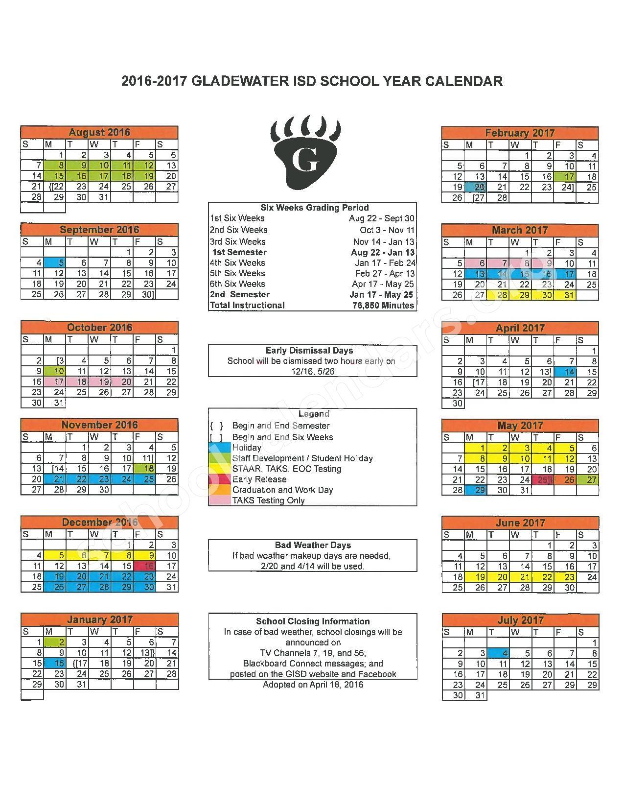 2016 - 2017 District Calendar – Gladewater Independent School District – page 1