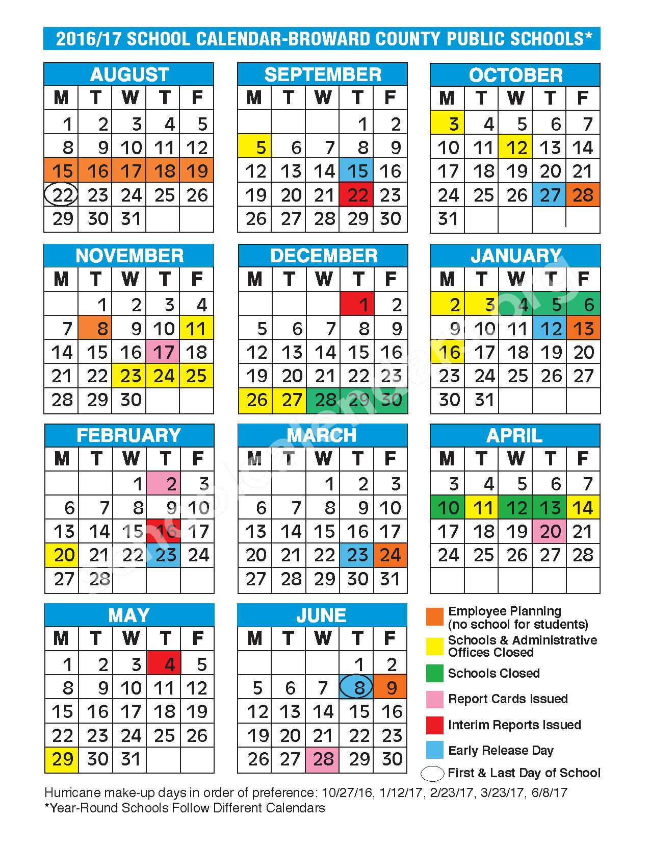 2016 - 2017 school calendar | broward county public schools – fort