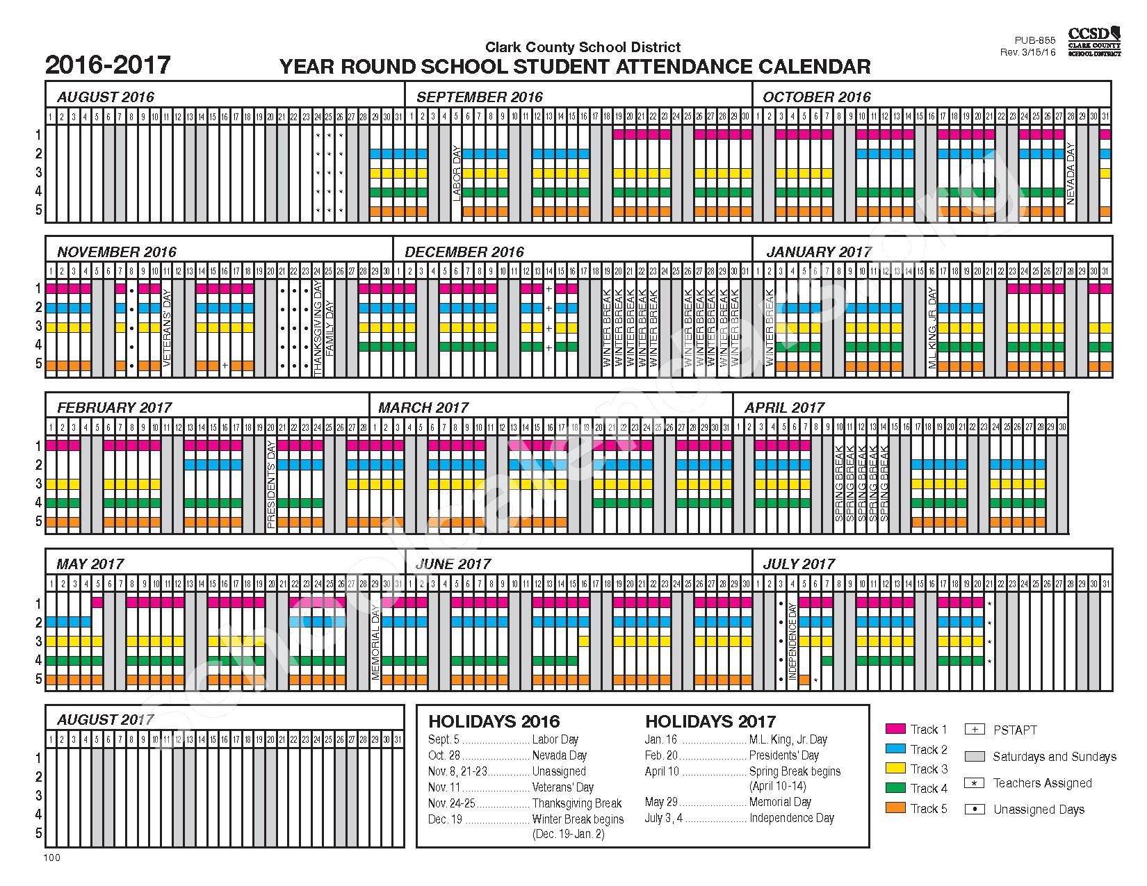 2016 - 2017 Year-Round School Calendar – Clark County School District – page 1