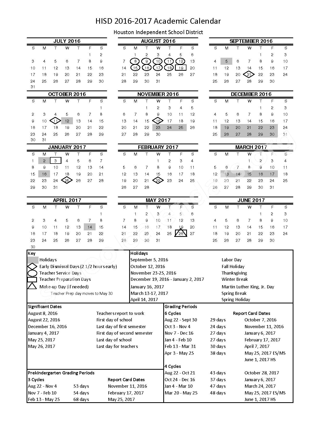 2016 - 2017 Academic Calendar – Houston Independent School District – page 1