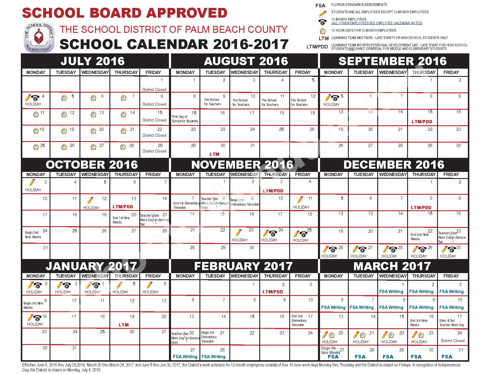 2016 - 2017 School Calendar – Inlet Grove High Adult – page 1