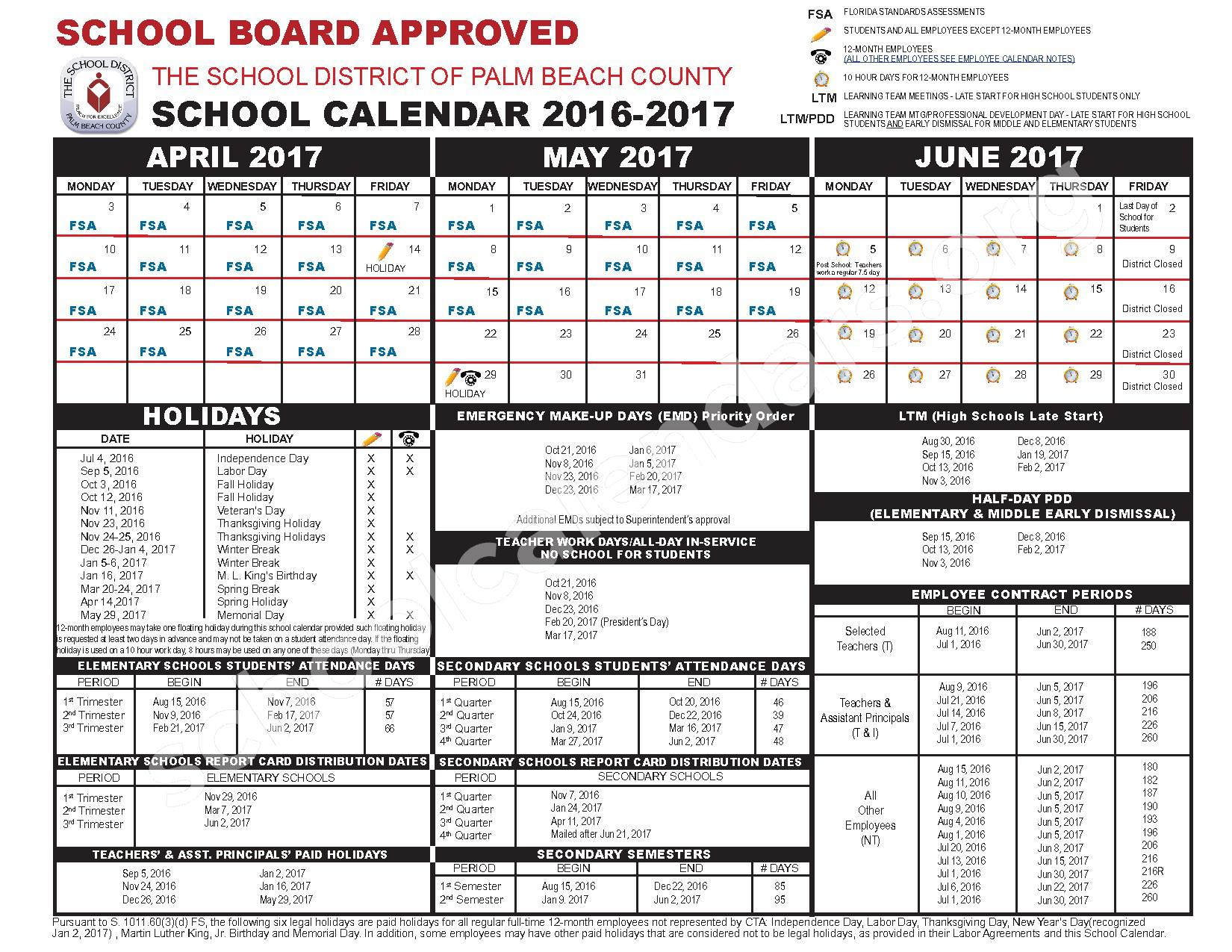 2016 - 2017 School Calendar – Inlet Grove High Adult – page 2