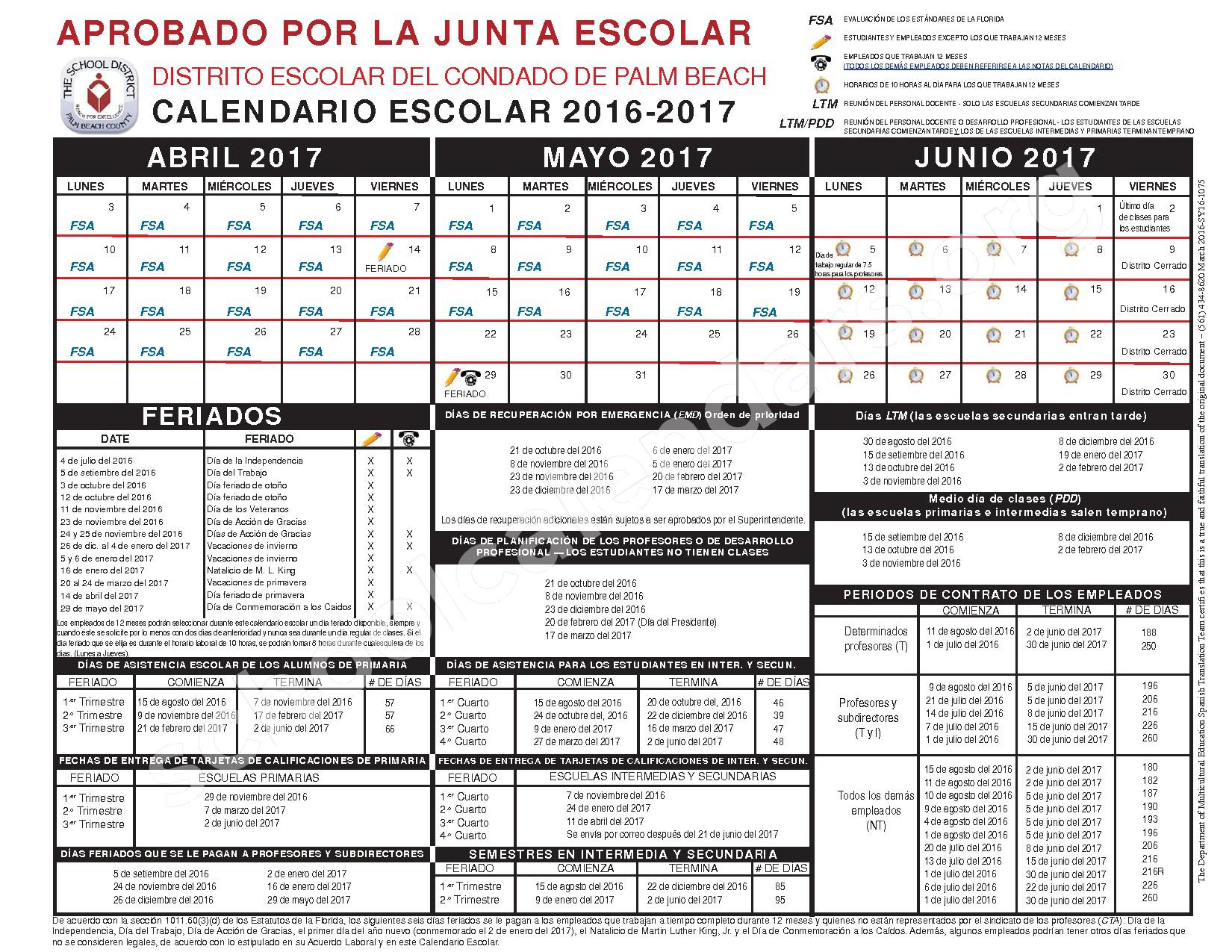 2016 - 2017 Calendario Escolar (Spanish) – Secondary, Adult and Community Education – page 2