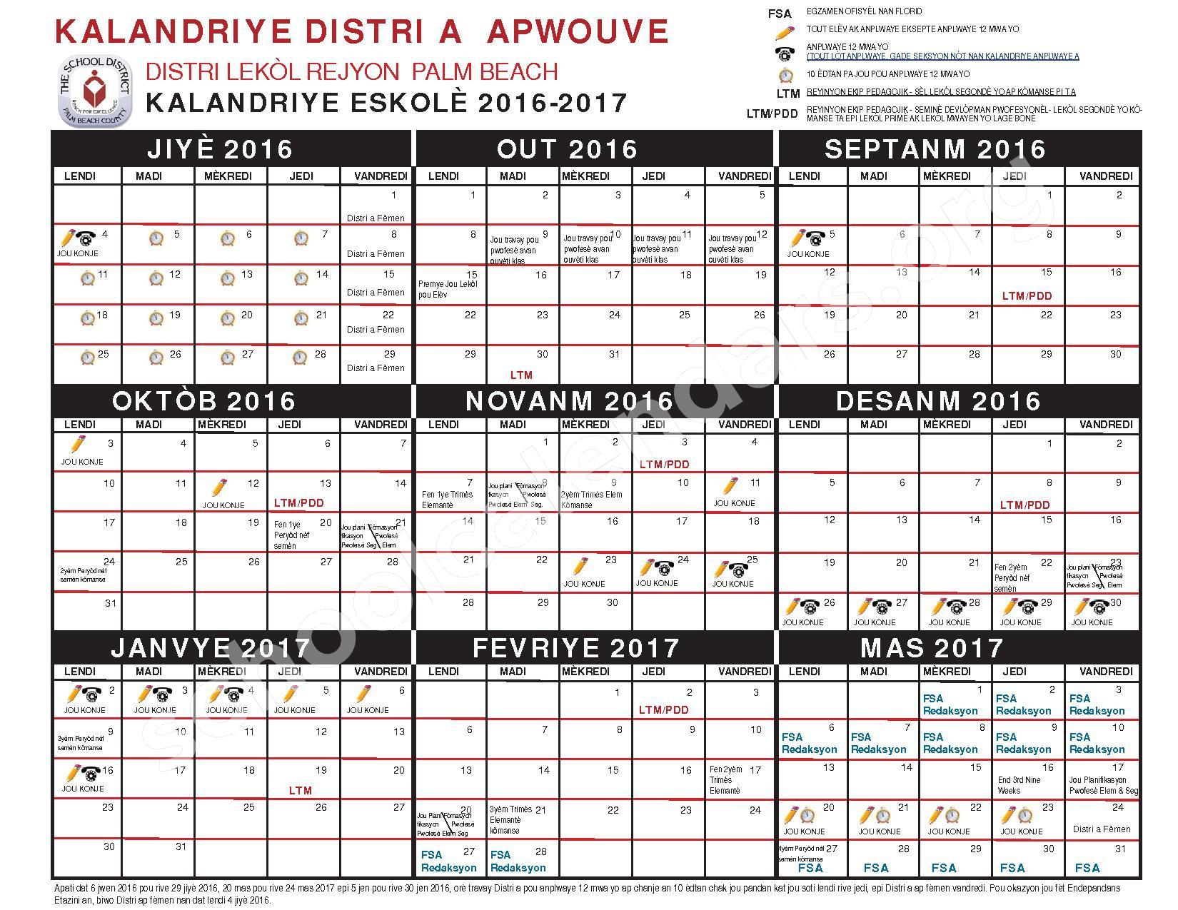 2016 - 2017 KALANDRIYE ESKOLÈ (Creole) – Boynton Beach Community Adult – page 1
