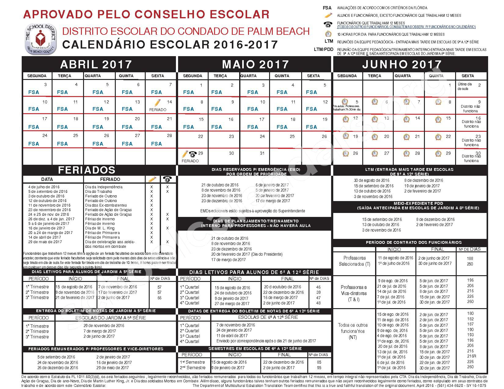 2016 - 2017 CALENDÁRIO ESCOLAR (Portuguese) – Secondary, Adult and Community Education – page 2
