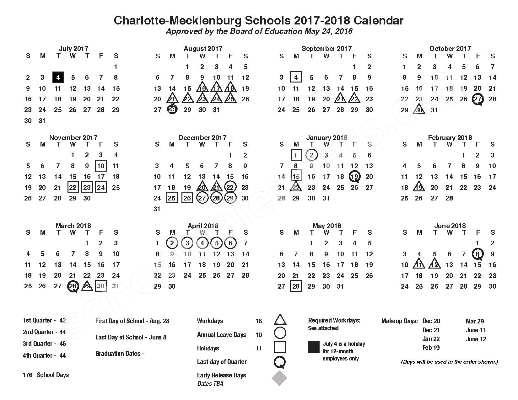 2017 - 2018 Academic Calendar – Martin Luther King, Jr Middle School – page 1
