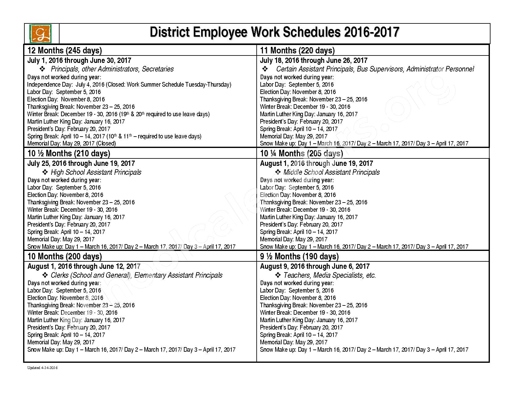 2016 - 2017 Work Schedule for District Employees – Chandler Creek Elementary School – page 1