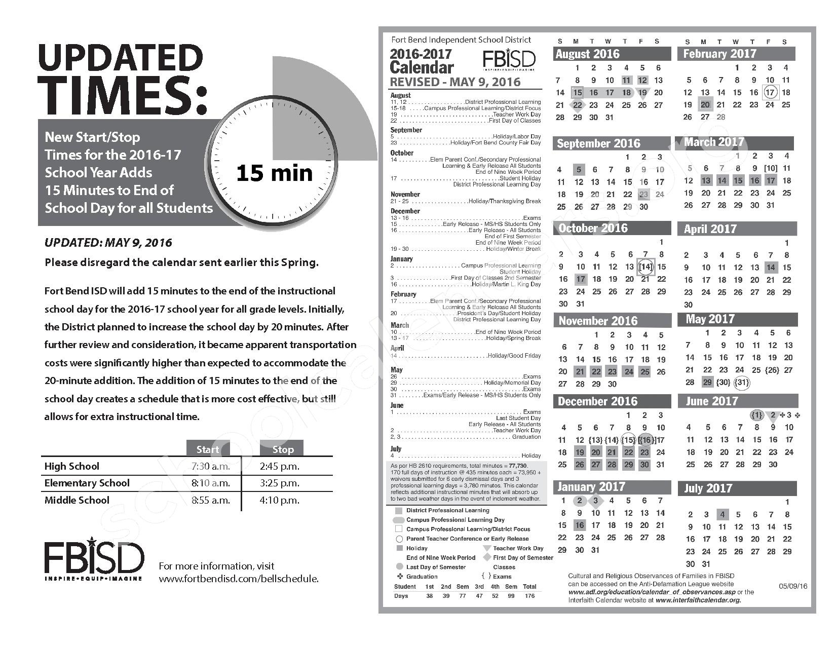 2016 - 2017 FBISD District Calendar and New Bell Schedule – Fort Bend Independent School District – page 1