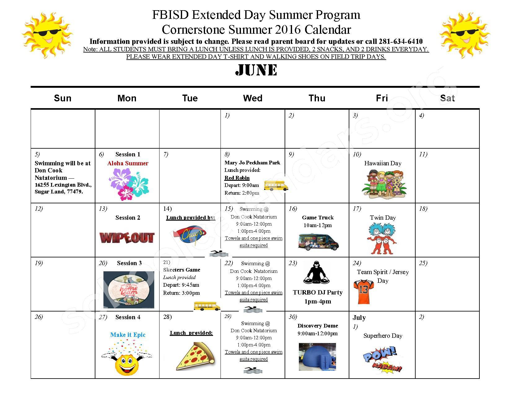 Summer 2016 Cornerstone Elementary Calendar – Cornerstone Elementary School – page 1