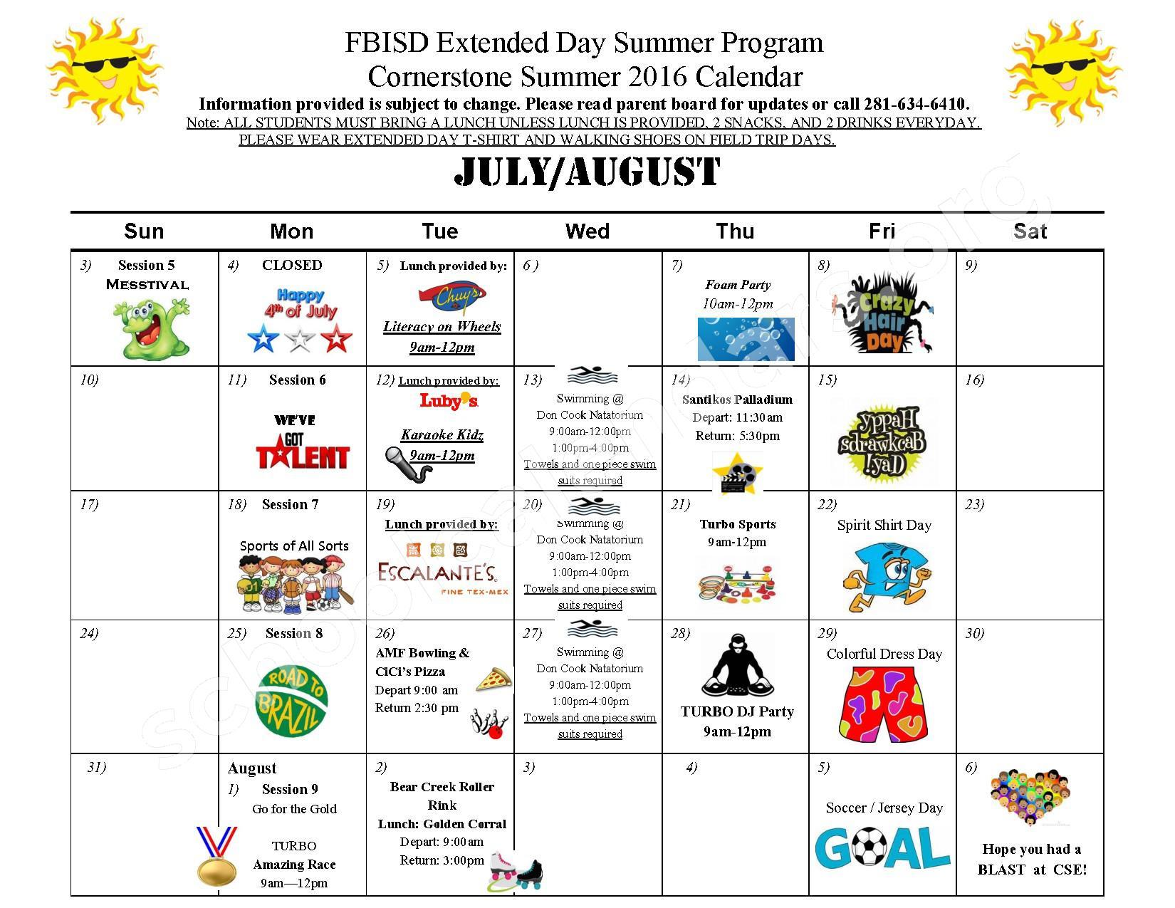 Summer 2016 Cornerstone Elementary Calendar – Cornerstone Elementary School – page 2