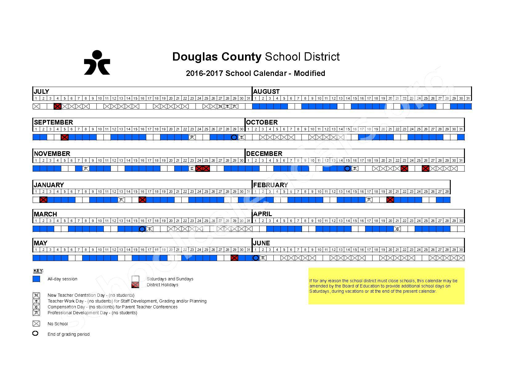 2016 - 2017 Modified School Calendar – Douglas County School District – page 1