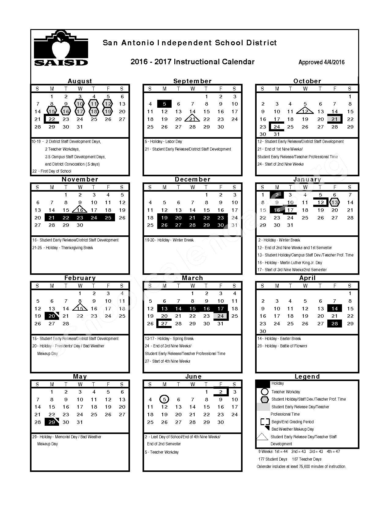2016 - 2017 School Calendar – Gonzales Center – page 1