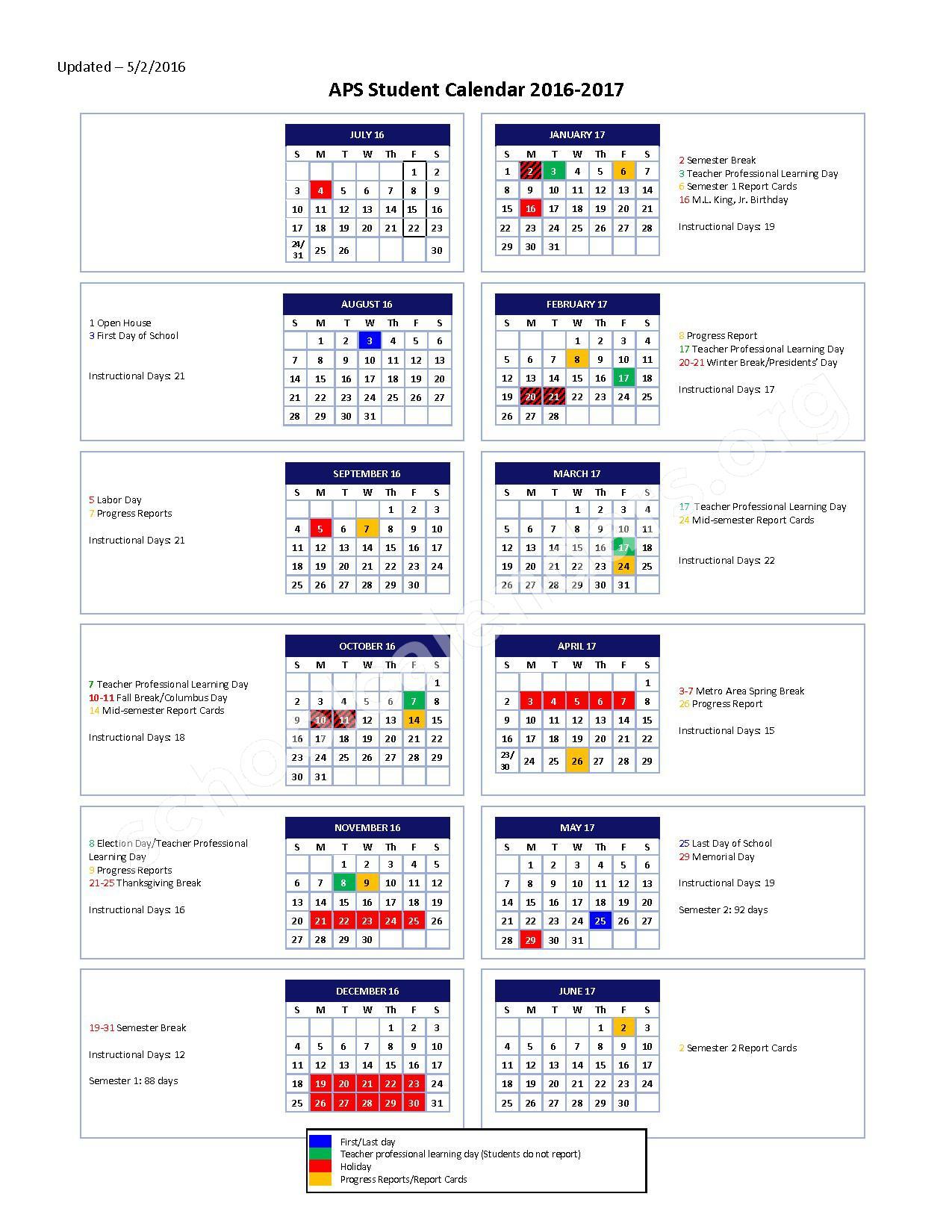 2016 - 2017 School Calendar – Campbell School – page 1