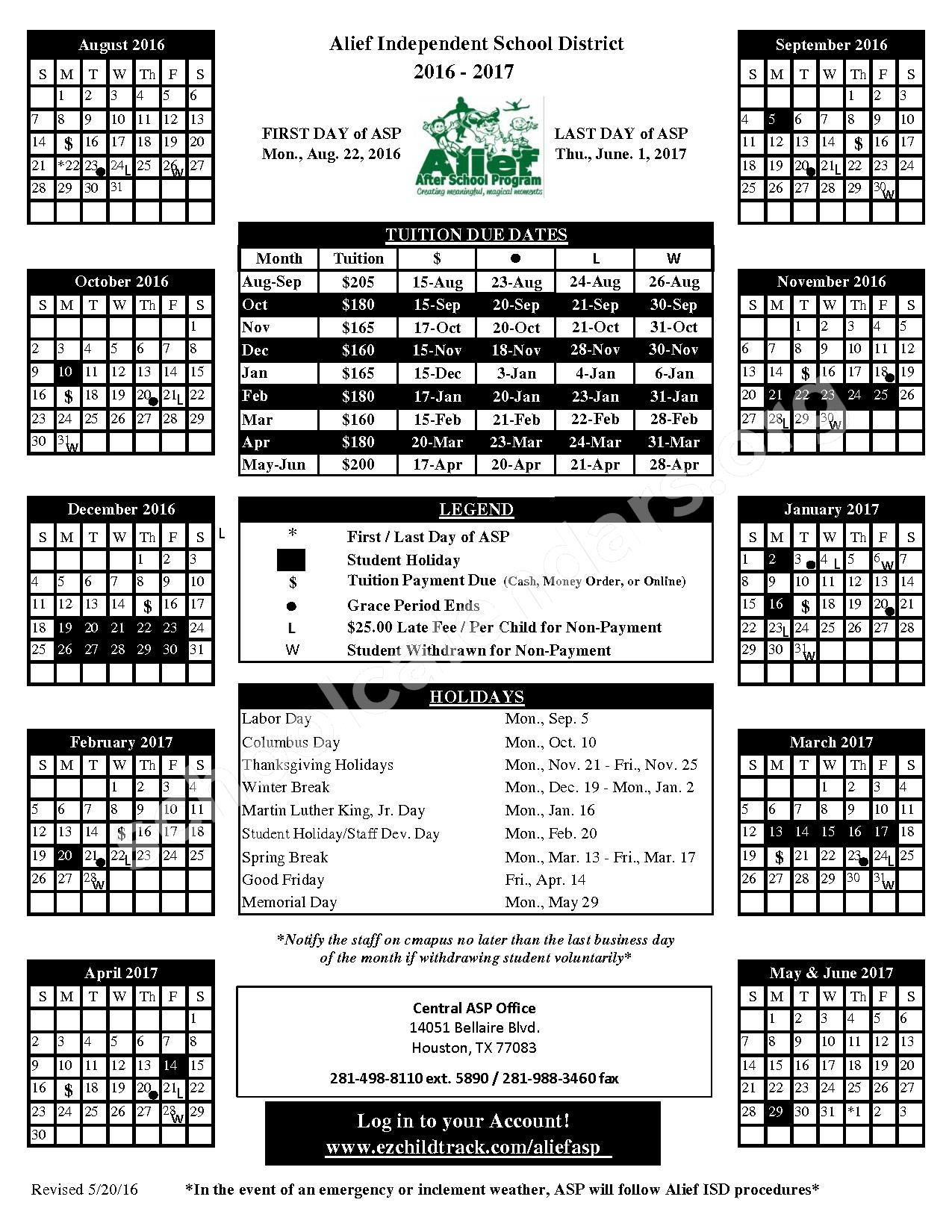 2016 - 2017 Tuition Calendar – Alief Independent School District – page 1