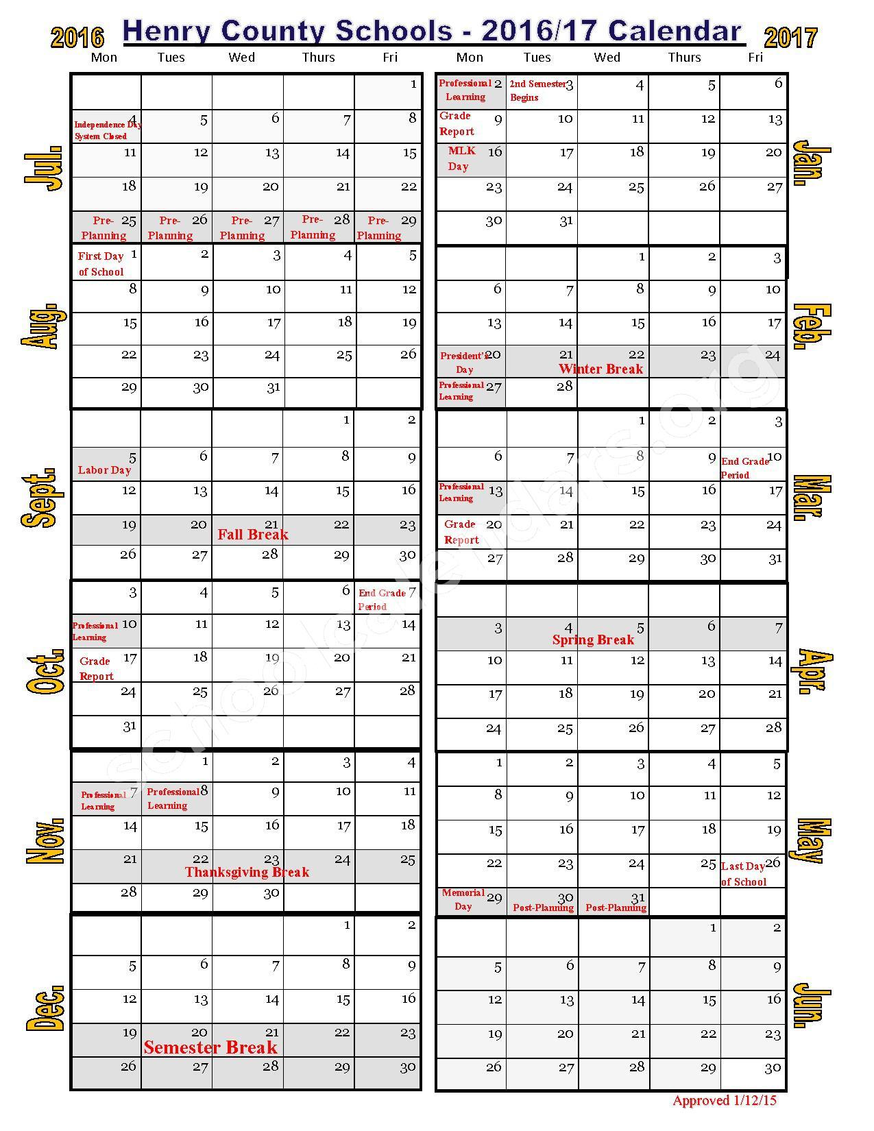 Henry County School Calendar.2016 2017 School Calendar Henry County School District