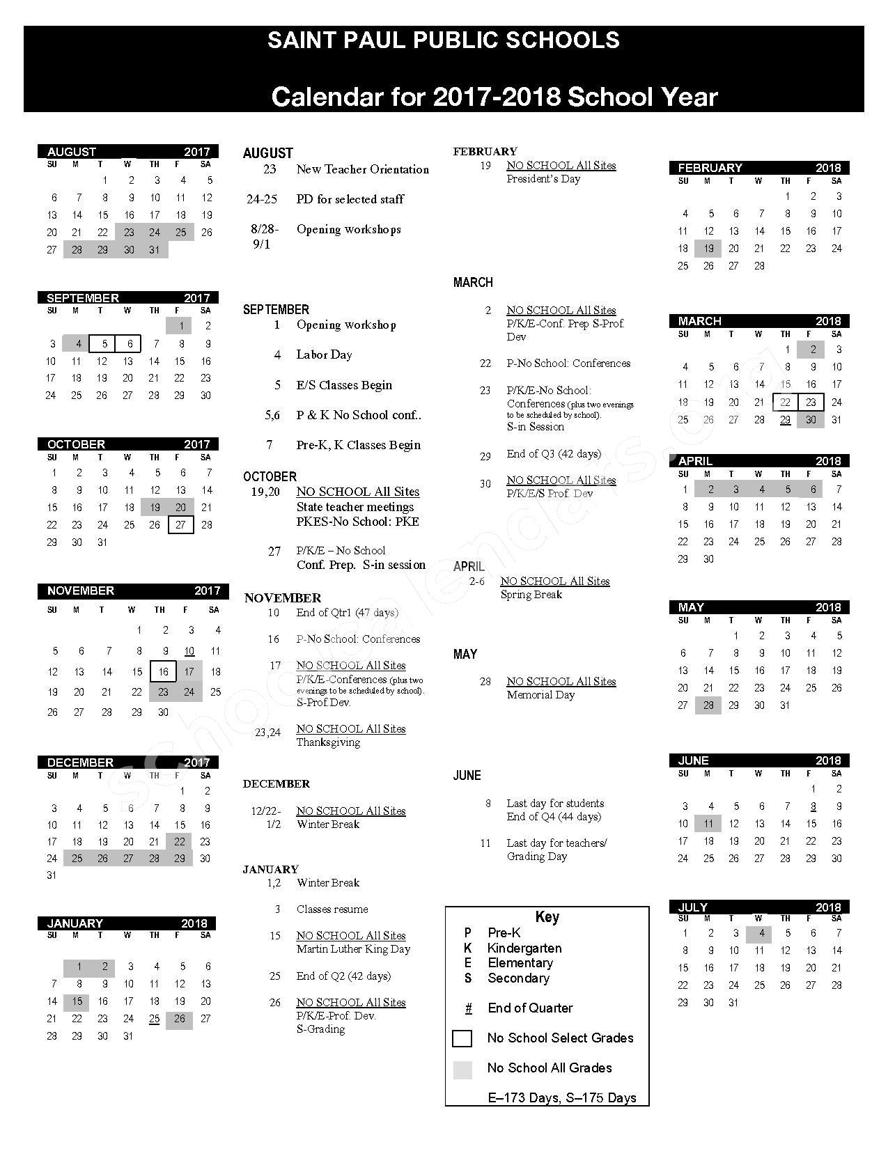 2017 - 2018 District Calendar – St. Paul Public School District – page 1