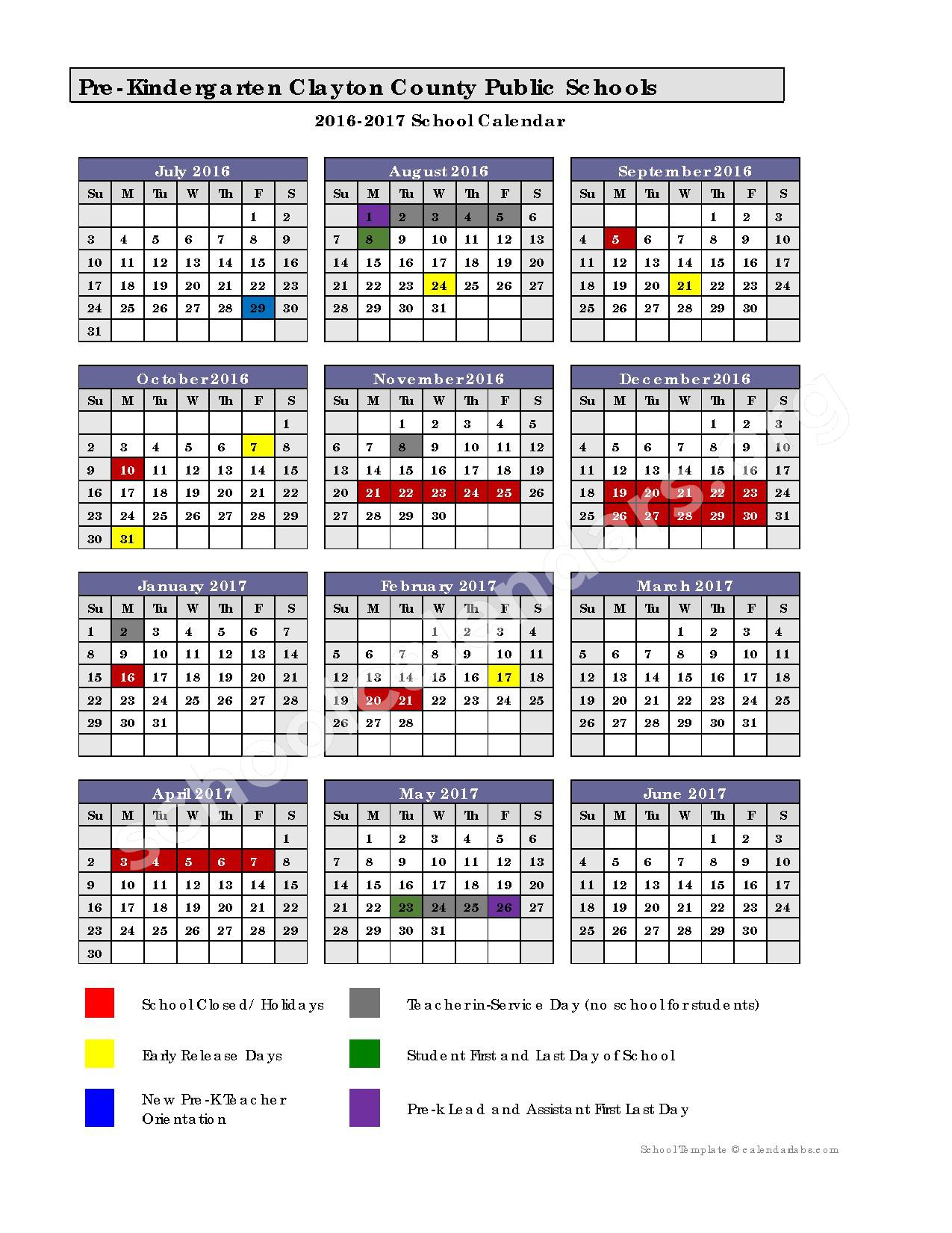Clayton County School Calendar 2016   2017 Pre K Calendar | Clayton County School District