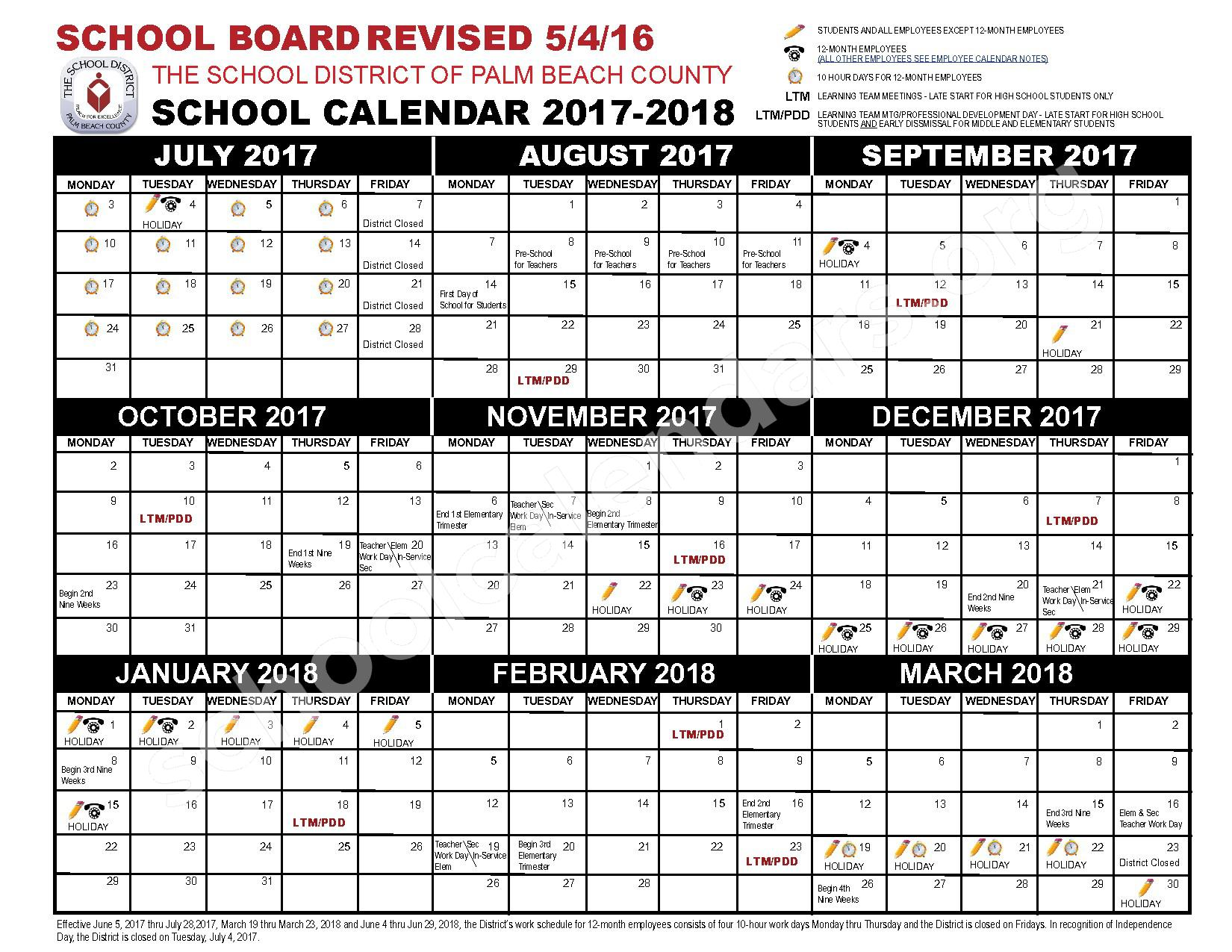 2017 - 2018 School Calendar – Boynton Beach Community Adult – page 1