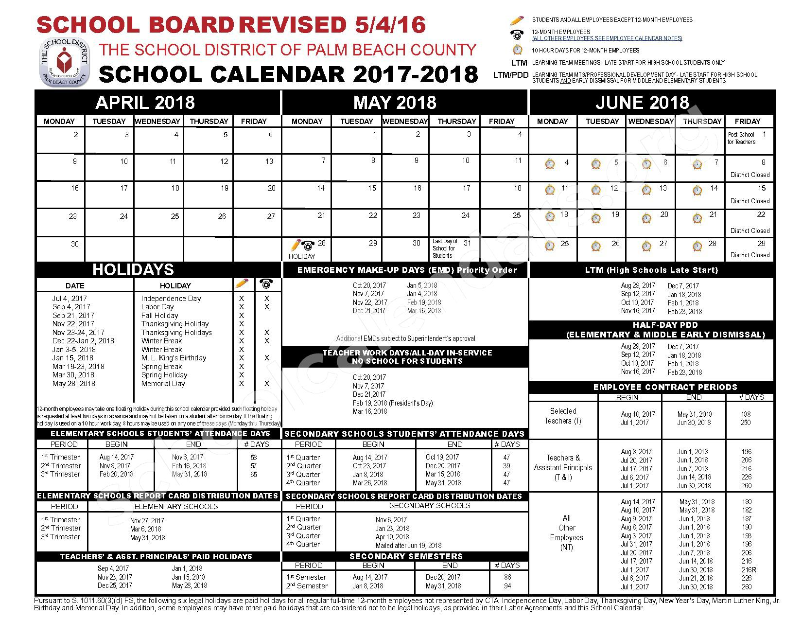 2017 - 2018 School Calendar – Boynton Beach Community Adult – page 2
