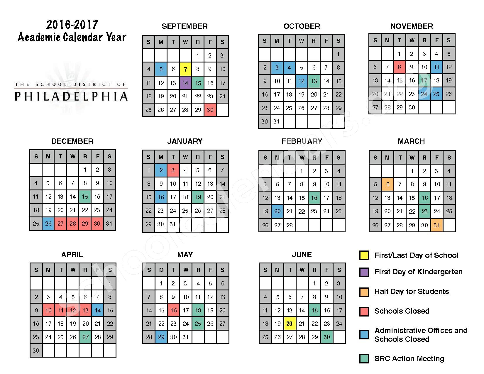 2016 - 2017  District Calendar – Carroll Charles School – page 1