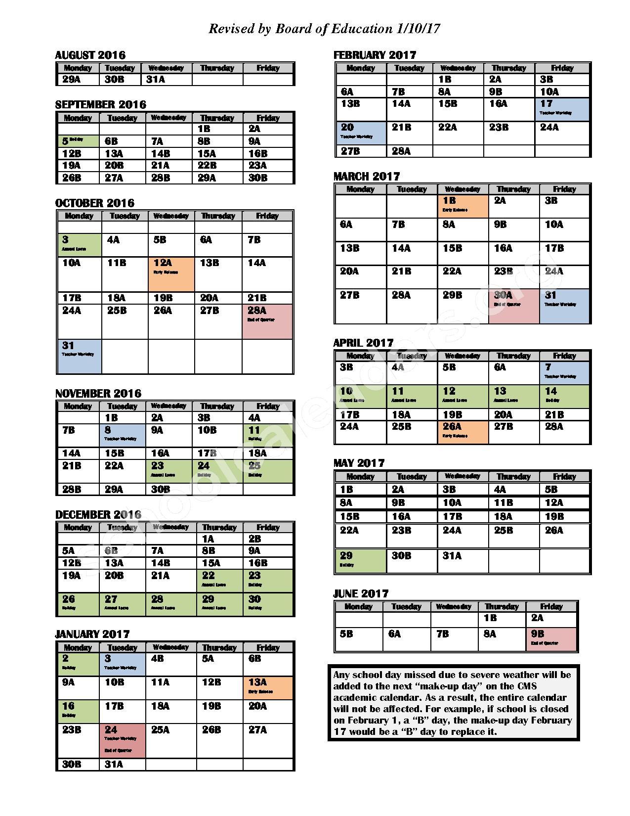 2016 - 2017 AB Day Calendar (Revised 1-10-17) – Ashley Park Elementary School – page 1