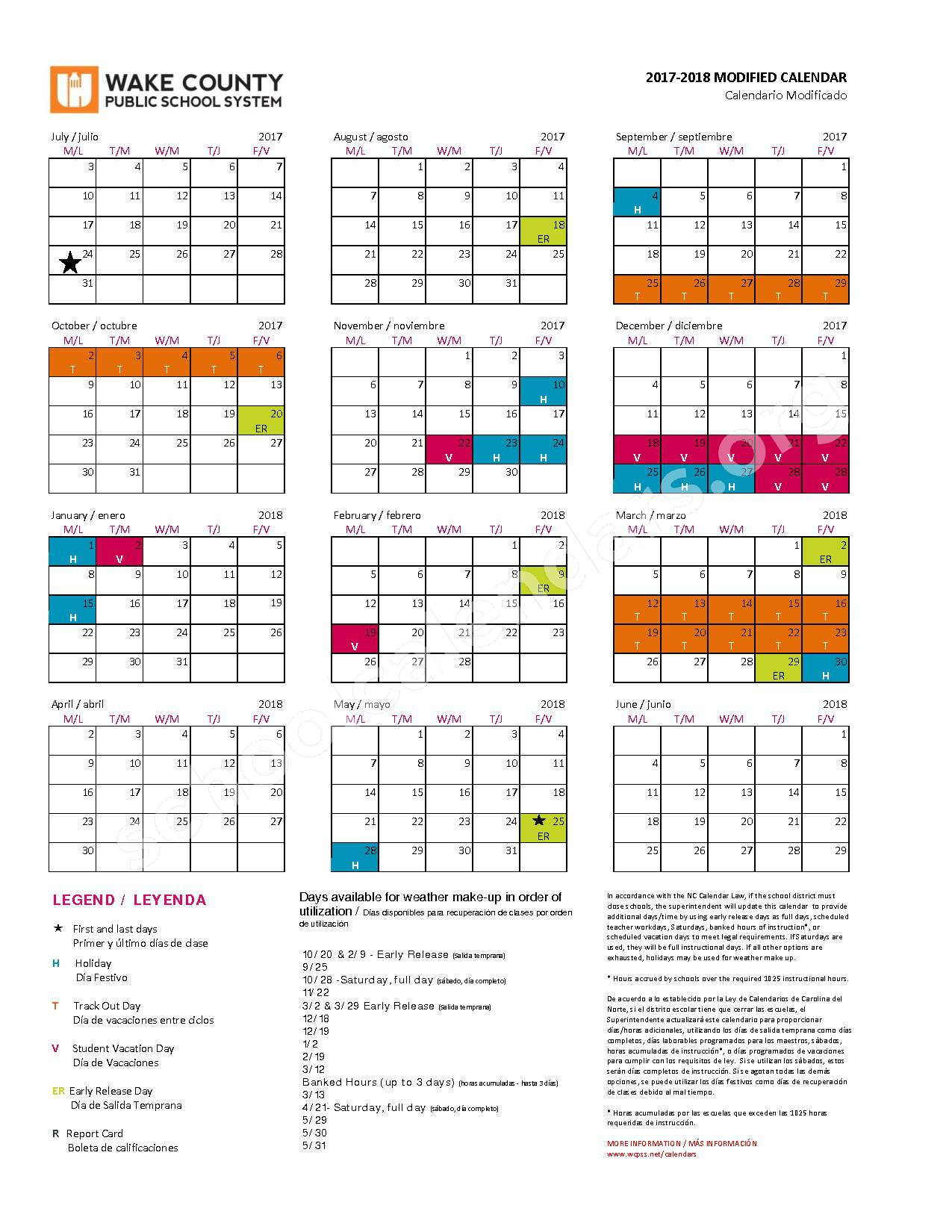 2017 - 2018 Modified Calendar – Wake County Public School System – page 1