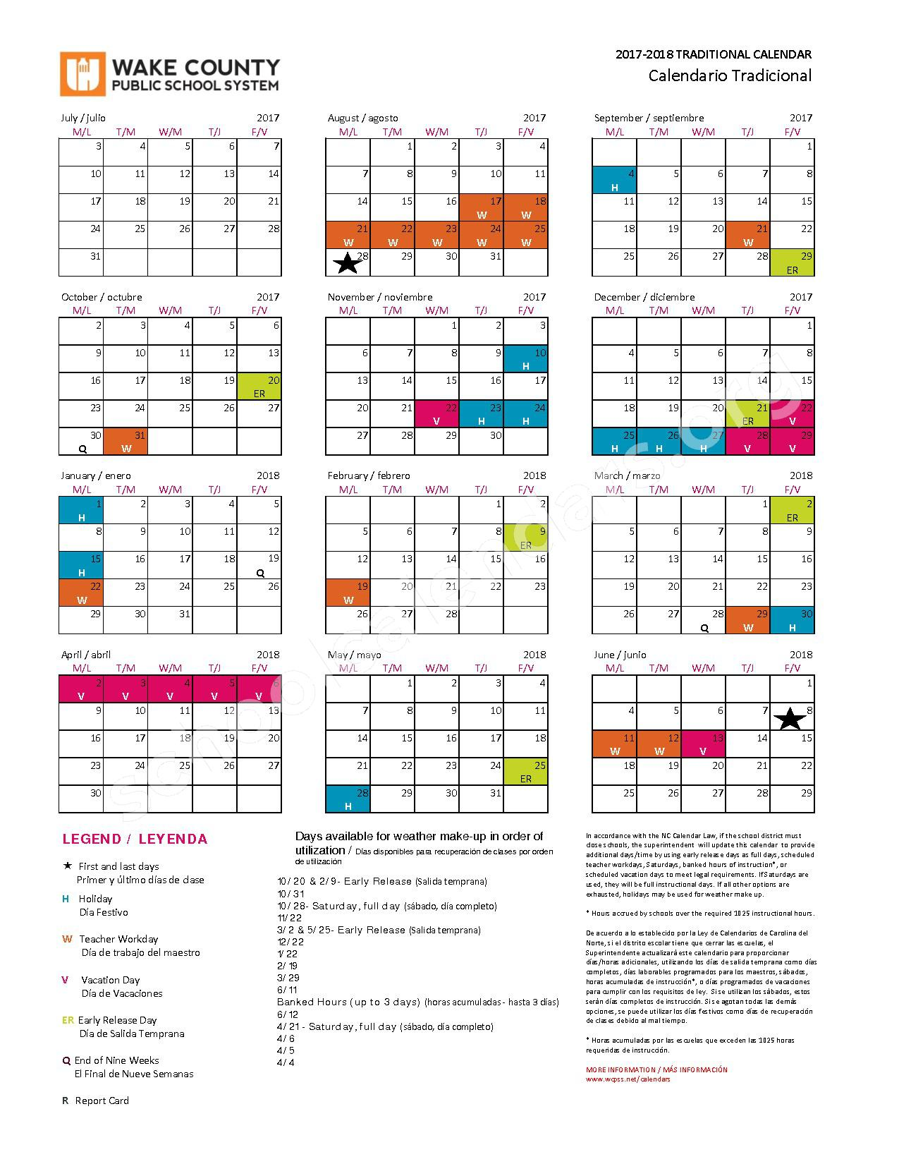 2017 - 2018 Traditional Calendar – Wake County Public School System – page 1