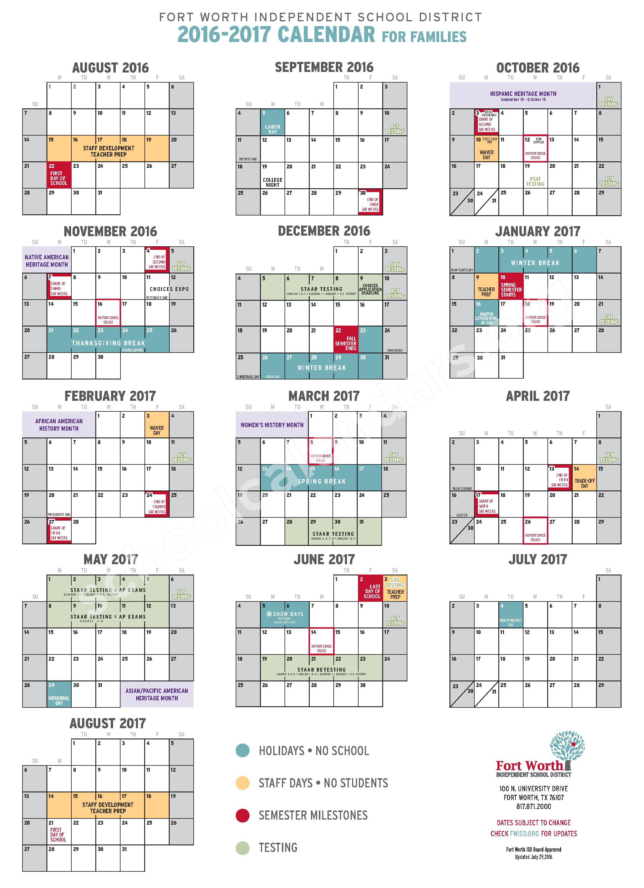 2016 - 2017 Student Calendar – Fort Worth Independent School District – page 1