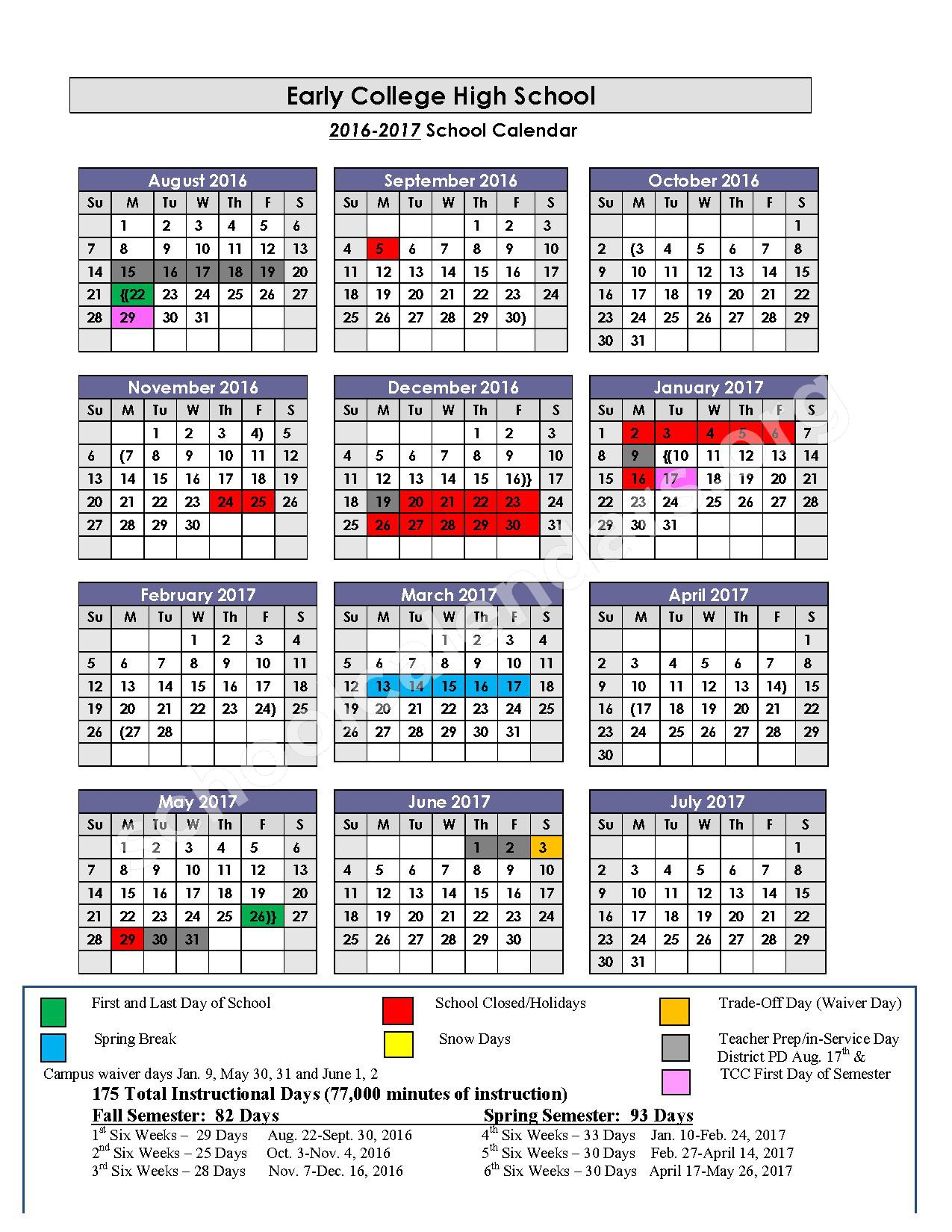 2016 - 2017 Early College High School Calendar – Fort Worth Independent School District – page 1