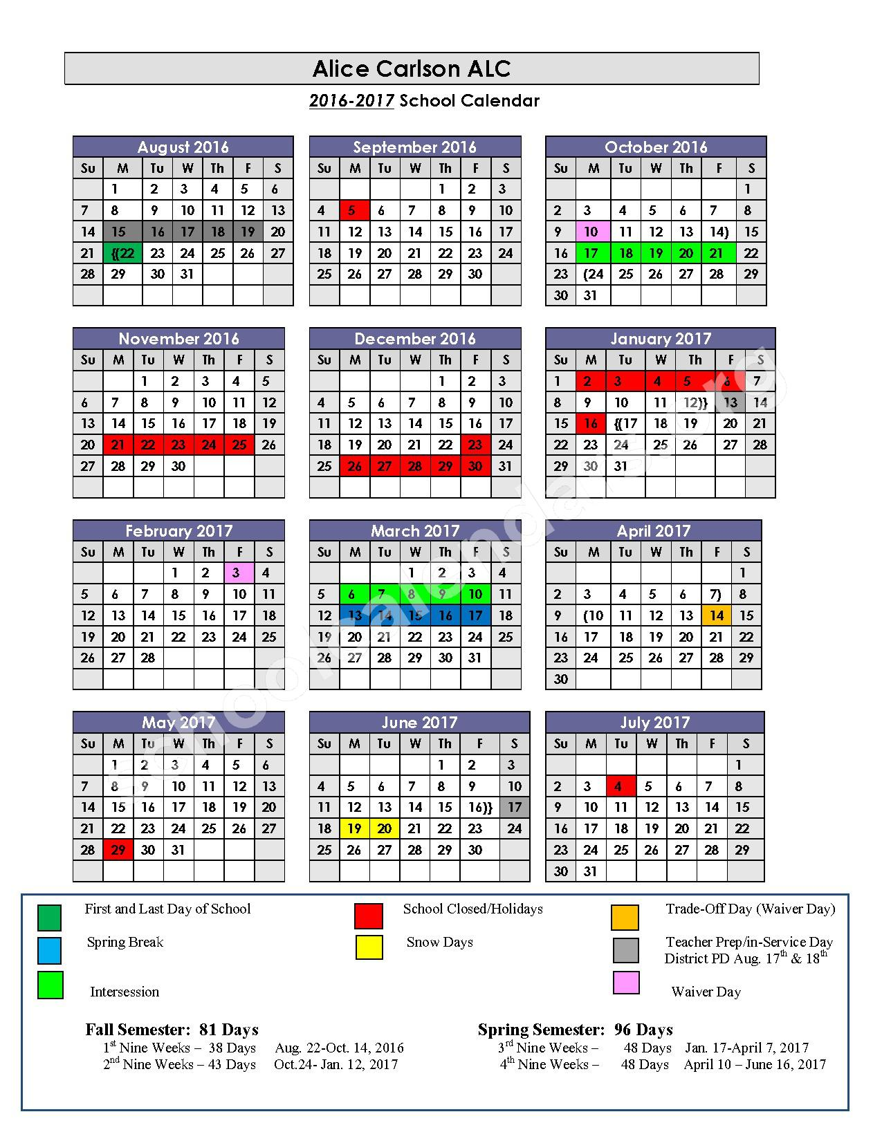 2016 - 2017 & 2017 - 2018 Alice Carlson Applied Learning Center Calendars – Alice Carlson Applied Learning Center – page 1