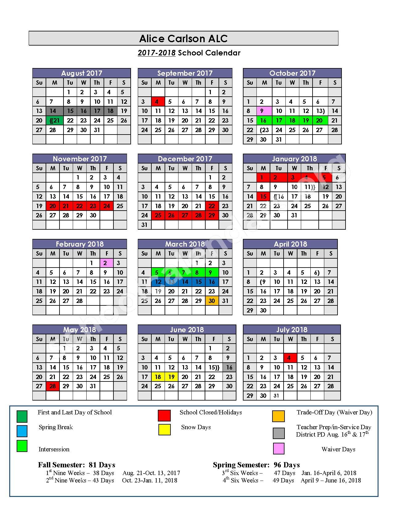 2016 - 2017 & 2017 - 2018 Alice Carlson Applied Learning Center Calendars – Alice Carlson Applied Learning Center – page 2