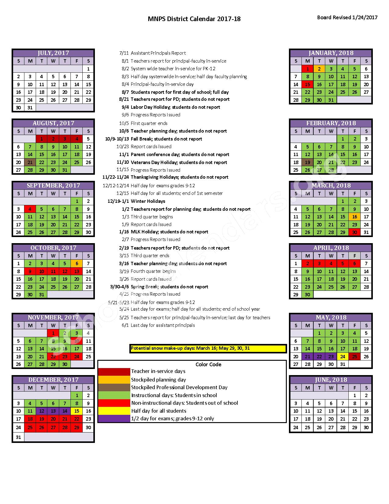 2017 - 2018 District Calendar – Ross Elementary School – page 1