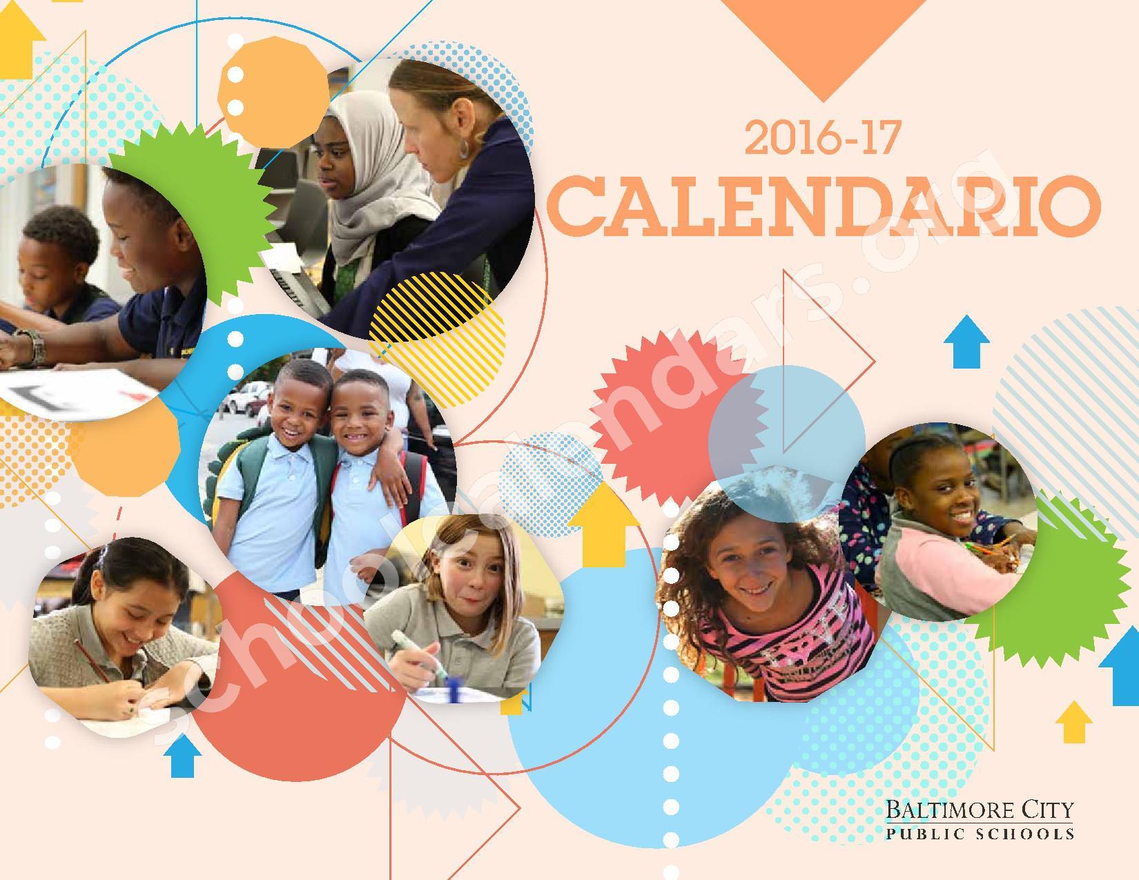 2016 - 2017 Calendario Escolar – Belmont Elementary School – page 1