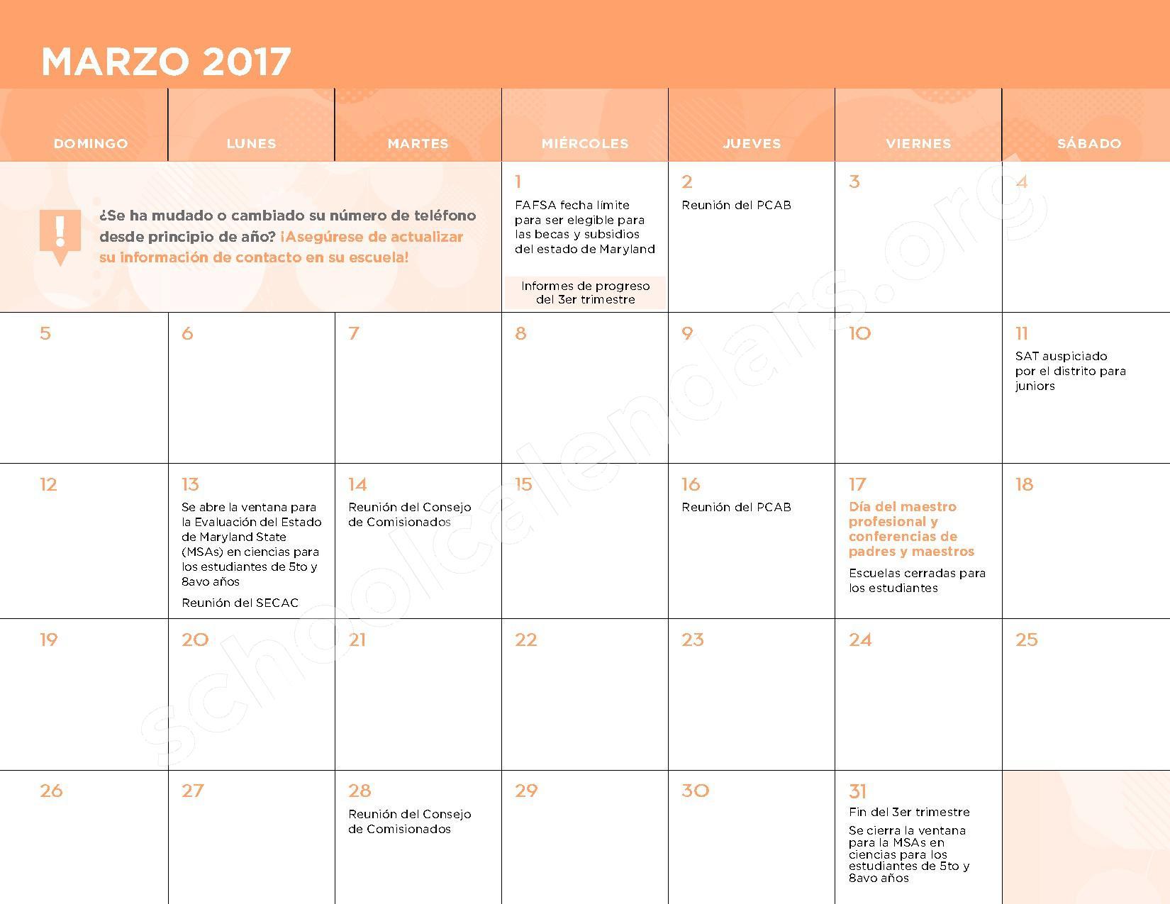 2016 - 2017 Calendario Escolar – Belmont Elementary School – page 10