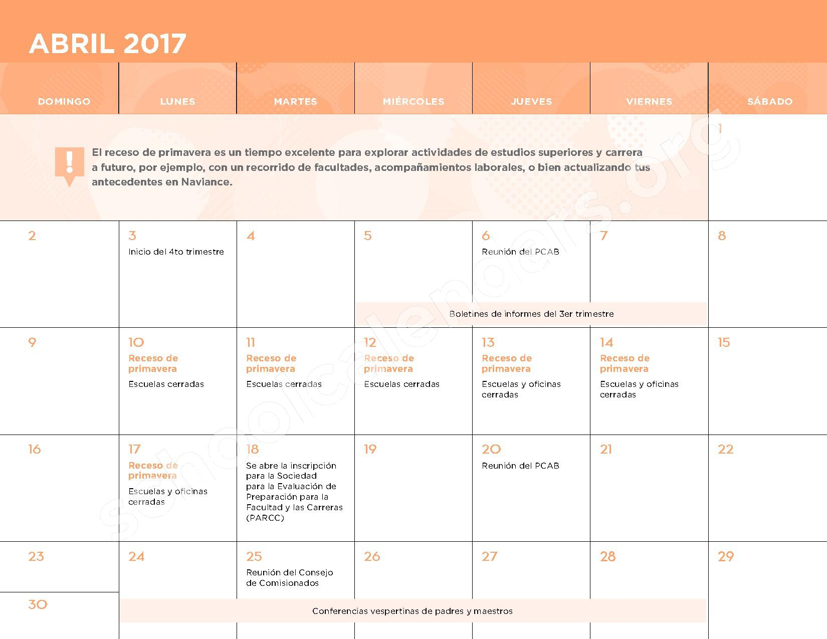 2016 - 2017 Calendario Escolar – Belmont Elementary School – page 11