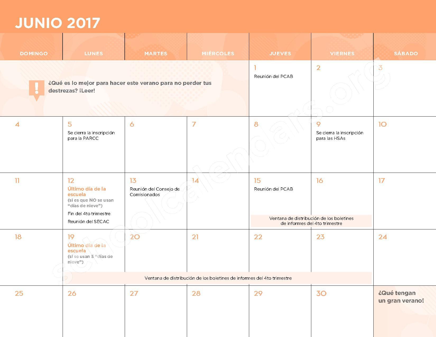 2016 - 2017 Calendario Escolar – Belmont Elementary School – page 13