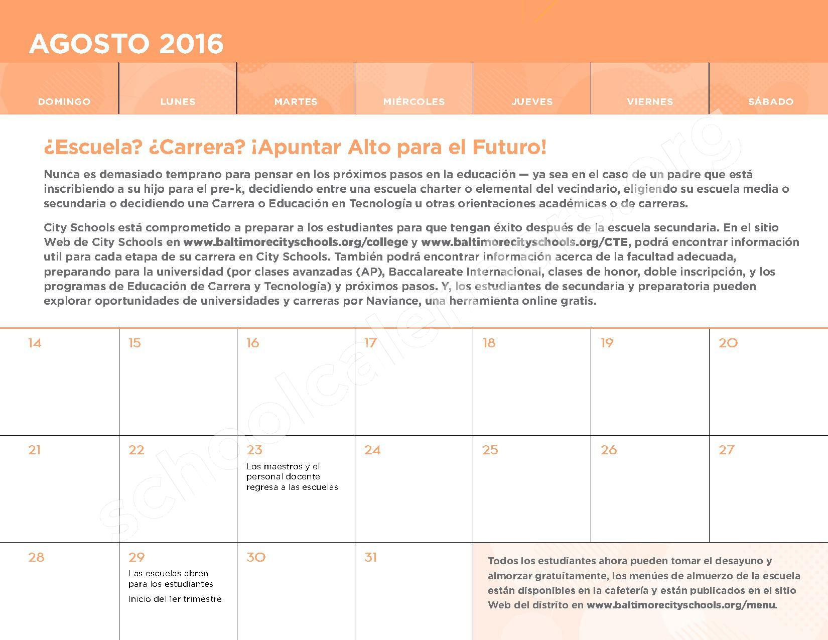 2016 - 2017 Calendario Escolar – Belmont Elementary School – page 3