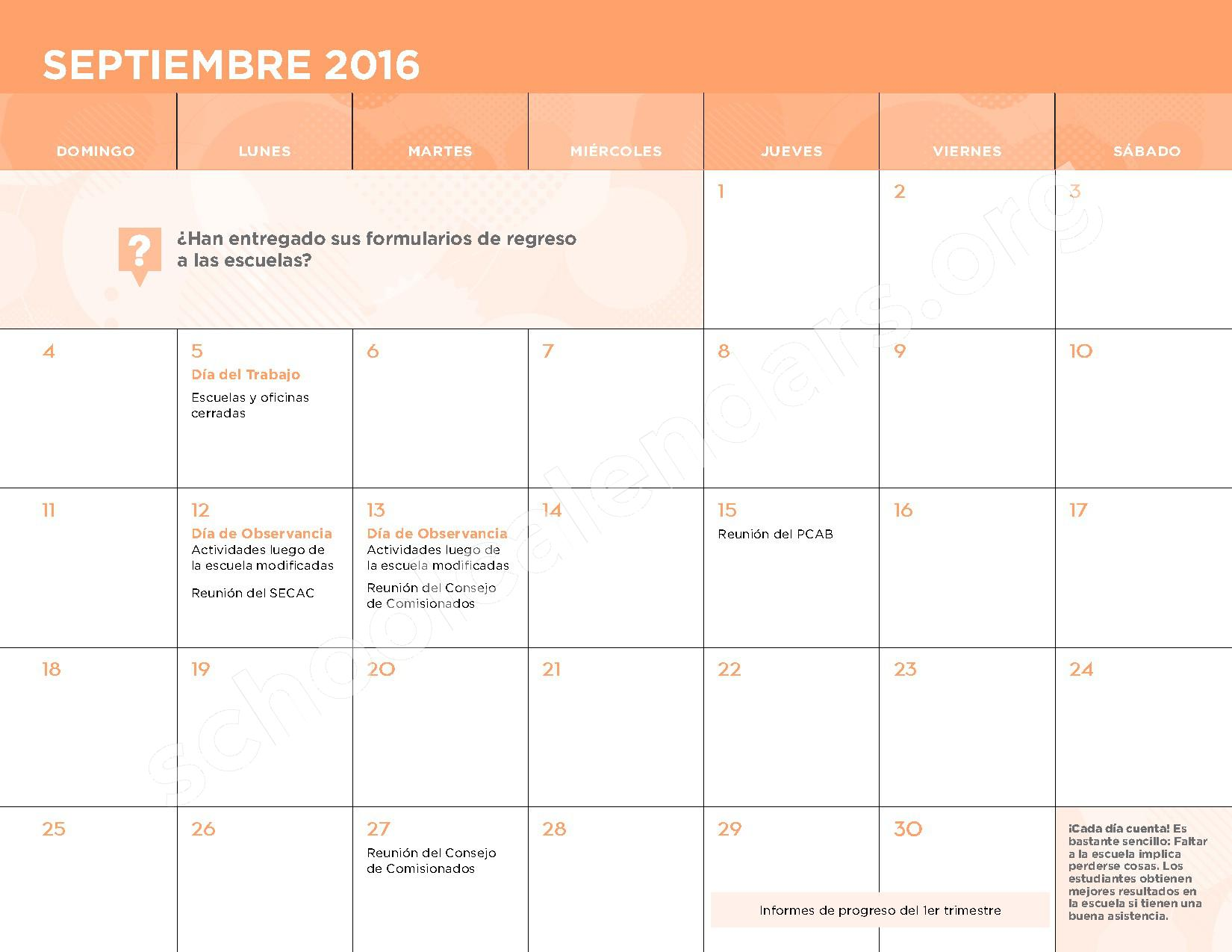 2016 - 2017 Calendario Escolar – Belmont Elementary School – page 4