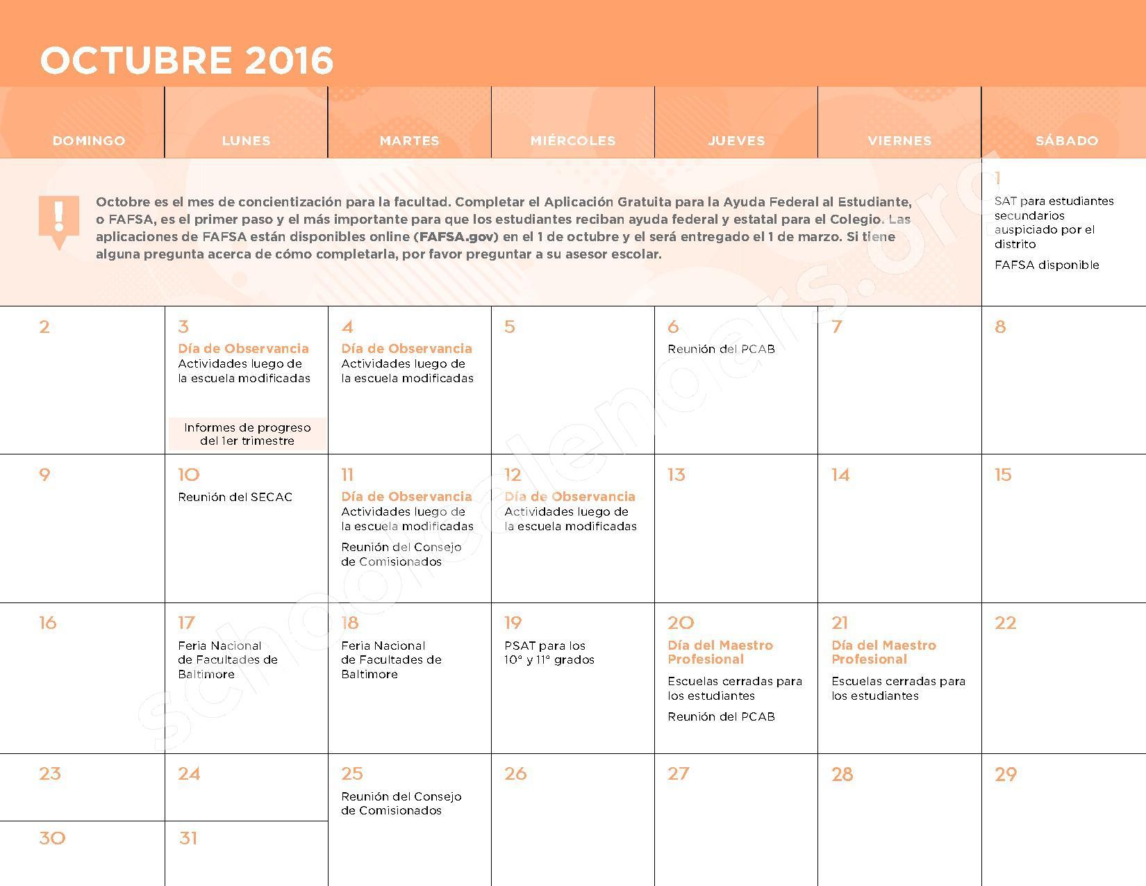 2016 - 2017 Calendario Escolar – Belmont Elementary School – page 5