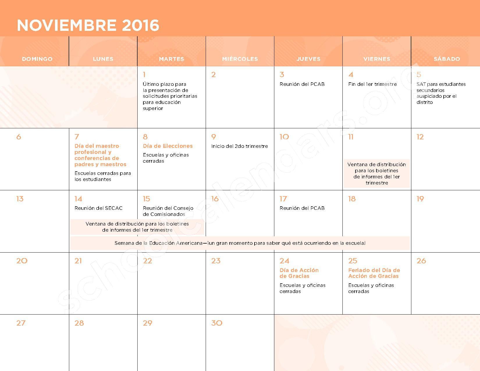 2016 - 2017 Calendario Escolar – Belmont Elementary School – page 6