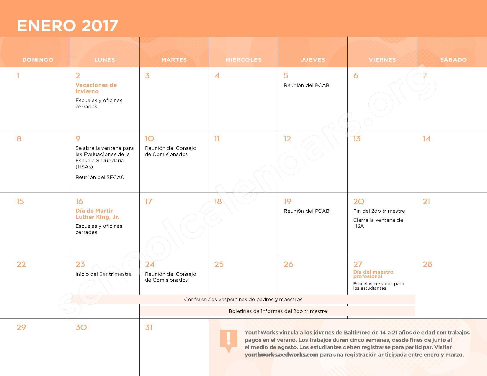 2016 - 2017 Calendario Escolar – Belmont Elementary School – page 8
