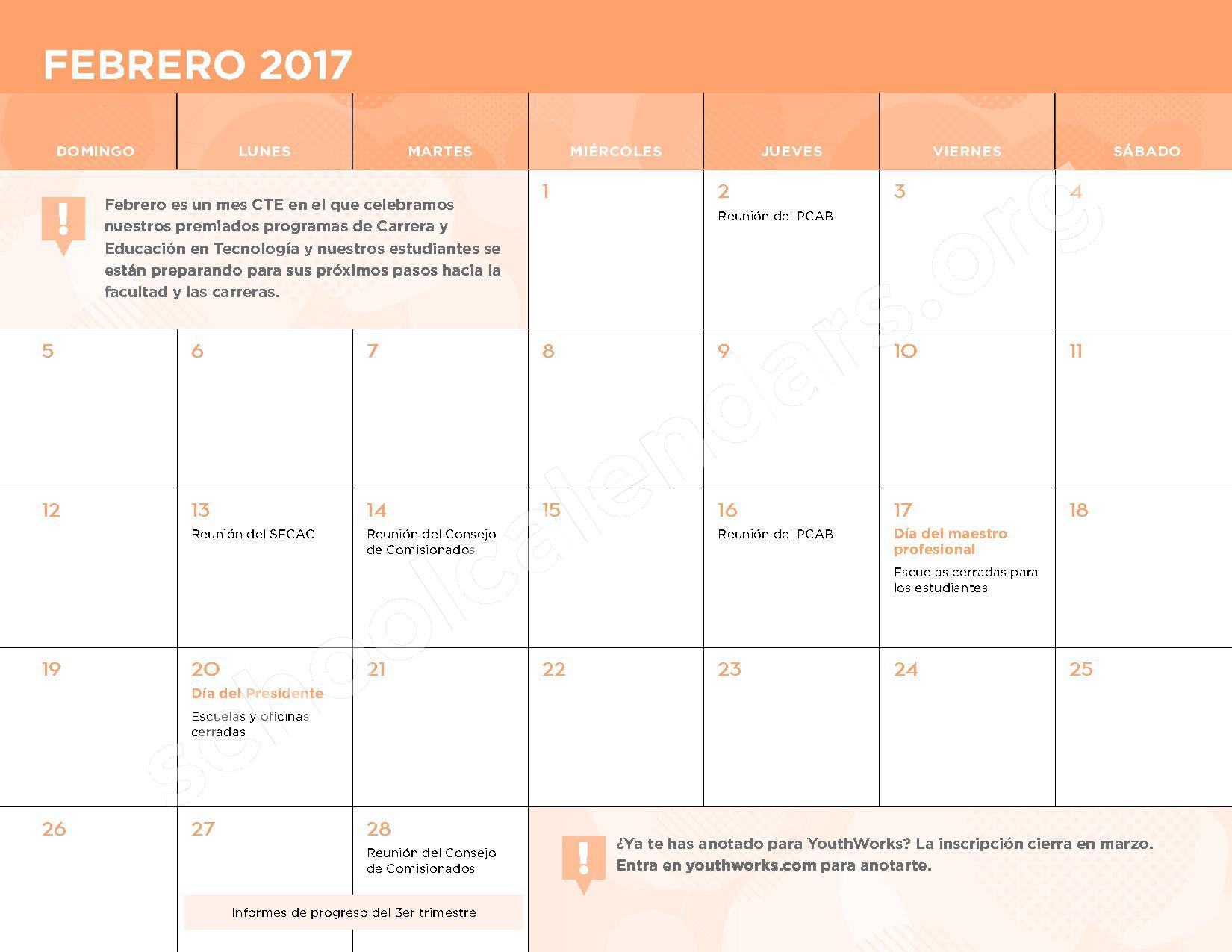 2016 - 2017 Calendario Escolar – Belmont Elementary School – page 9