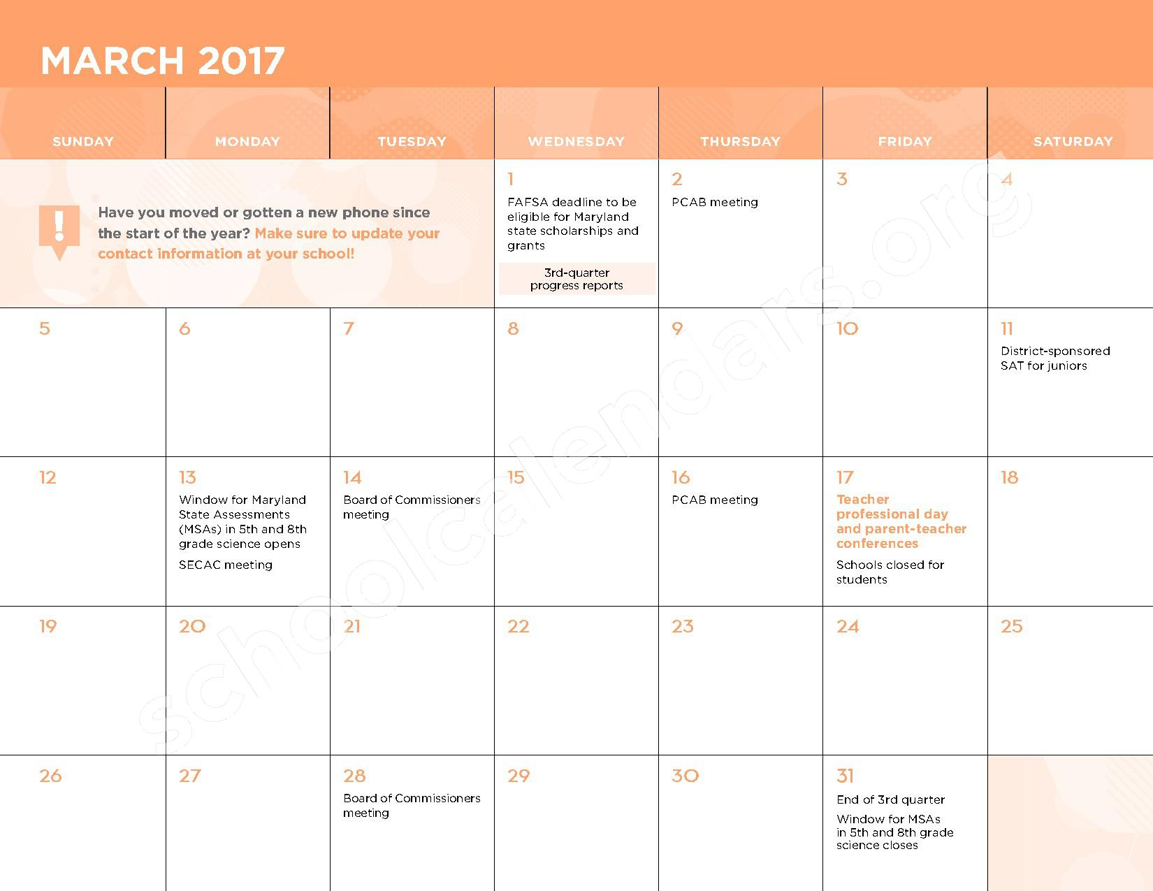 2016 - 2017 School Calendar – George W.F. McMechen – page 10