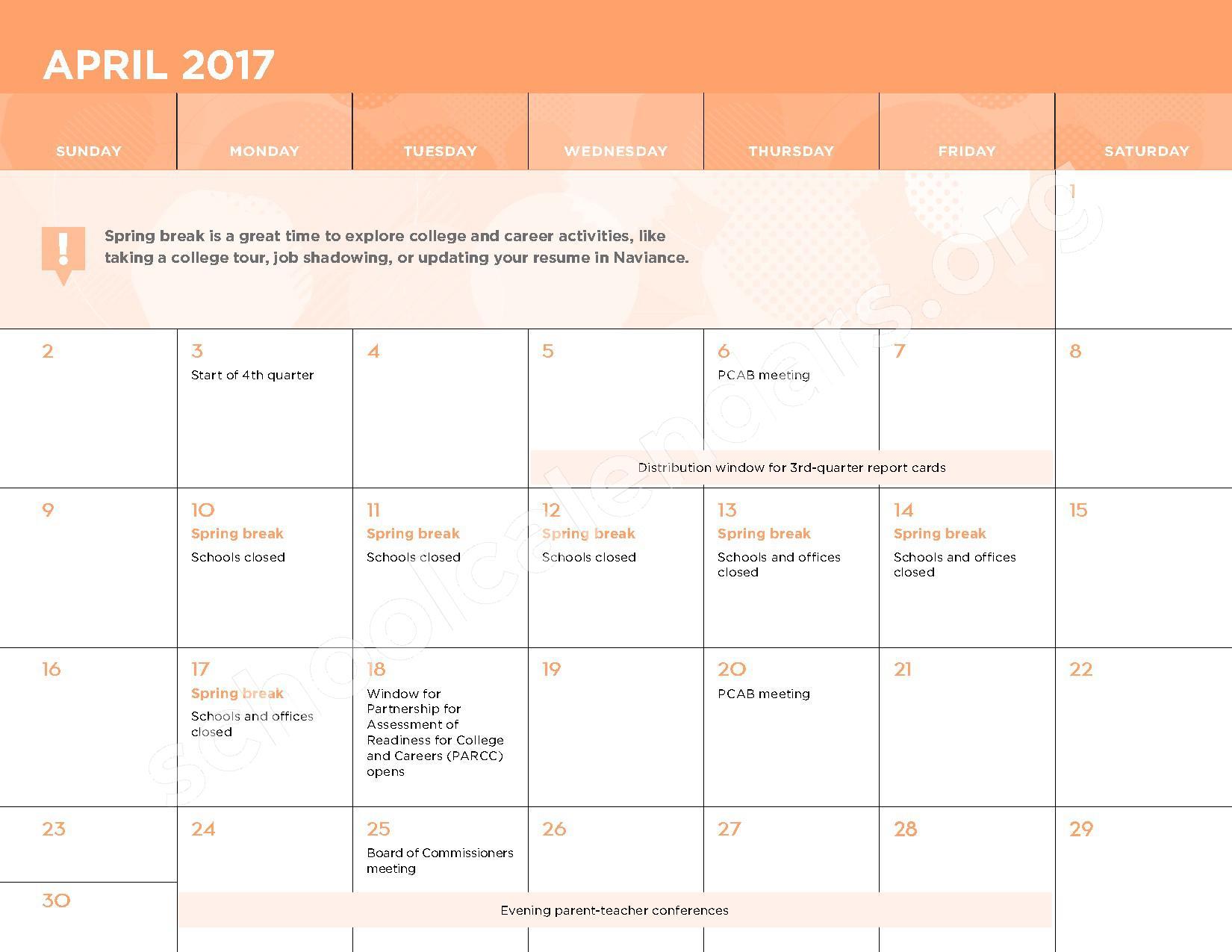 2016 - 2017 School Calendar – George W.F. McMechen – page 11