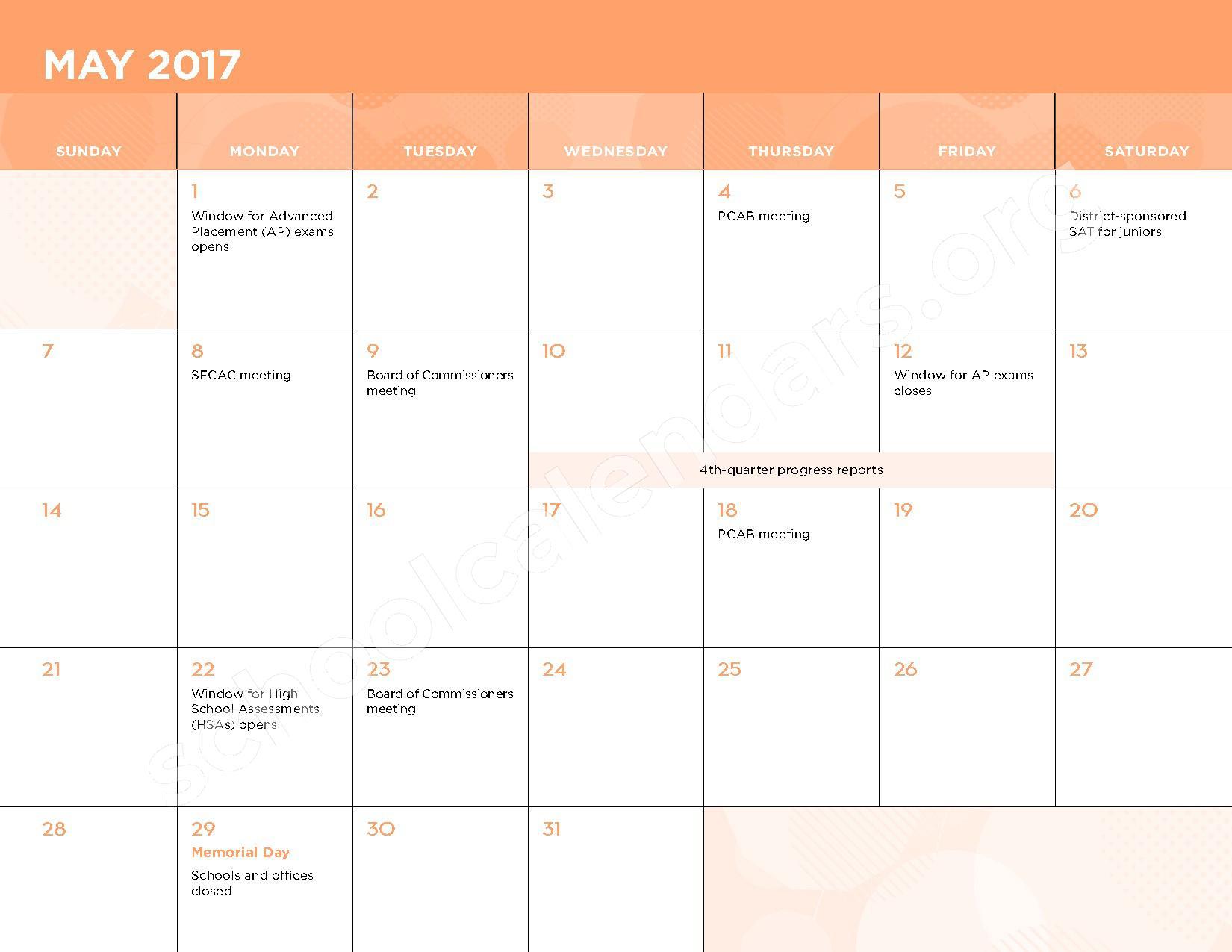 2016 - 2017 School Calendar – George W.F. McMechen – page 12