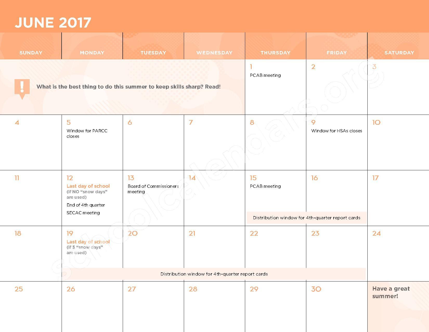 2016 - 2017 School Calendar – George W.F. McMechen – page 13